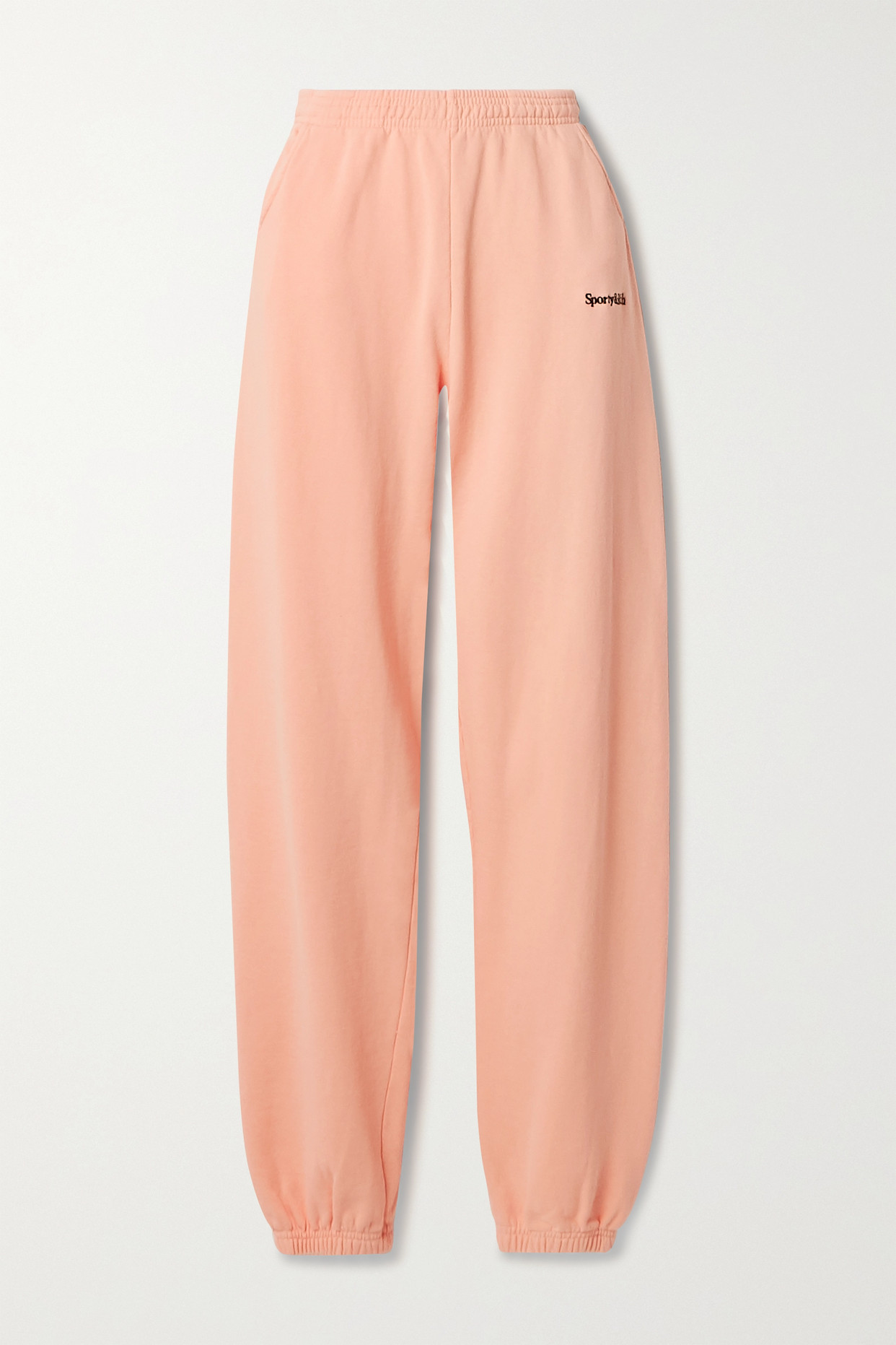 SPORTY & RICH - Embroidered Cotton-jersey Track Pants - Orange - small
