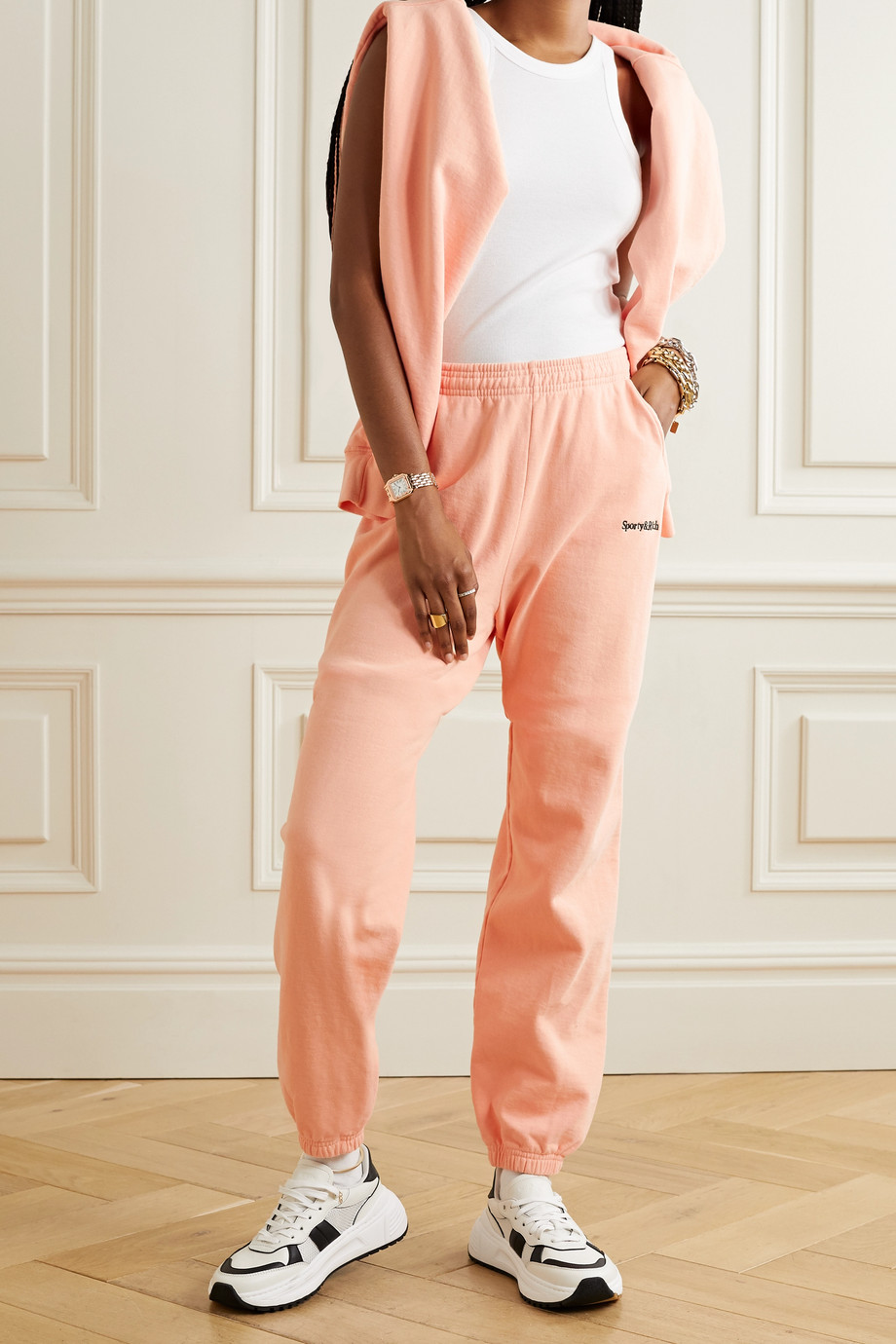 SPORTY & RICH Embroidered cotton-jersey track pants