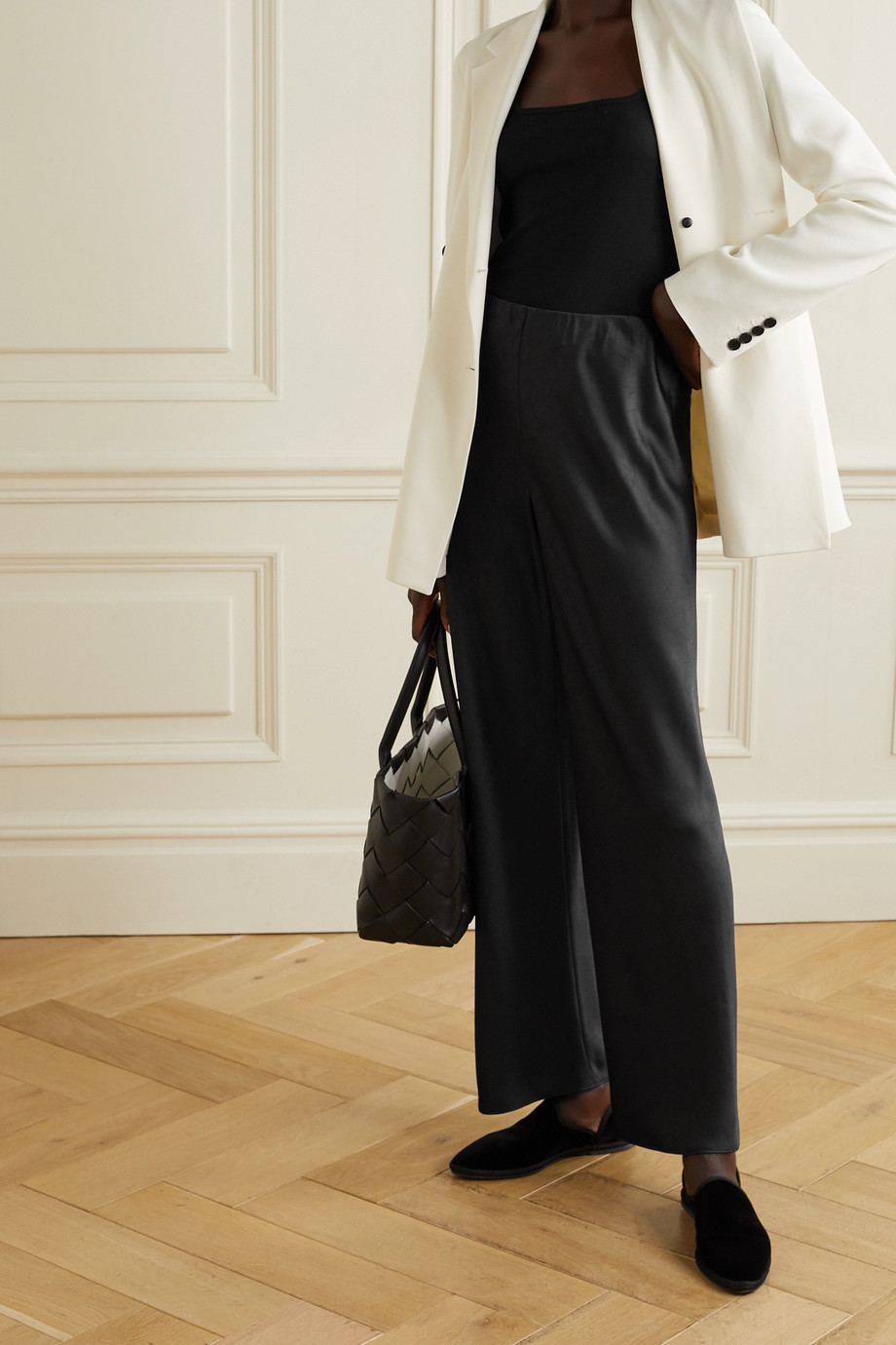 VINCE Crinkled-satin straight-leg pants