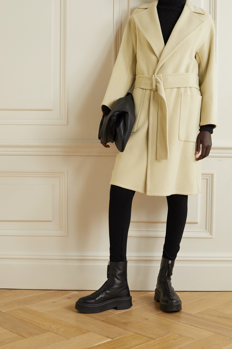 VINCE Belted brushed wool-blend coat