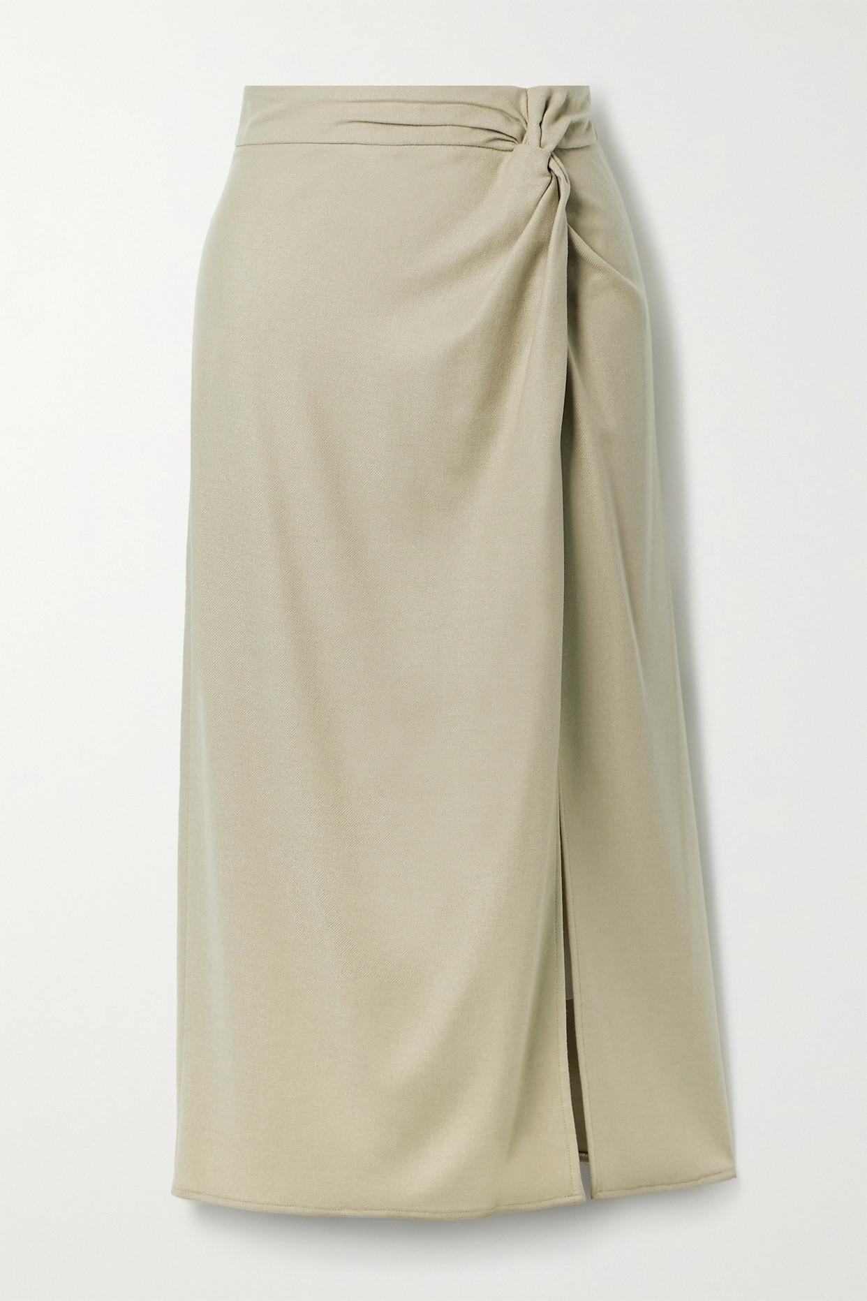 VINCE - Knotted Flannel Midi Skirt - Neutrals - US2