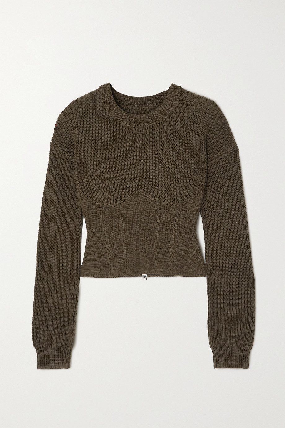 RTA Fitz paneled ribbed cotton sweater