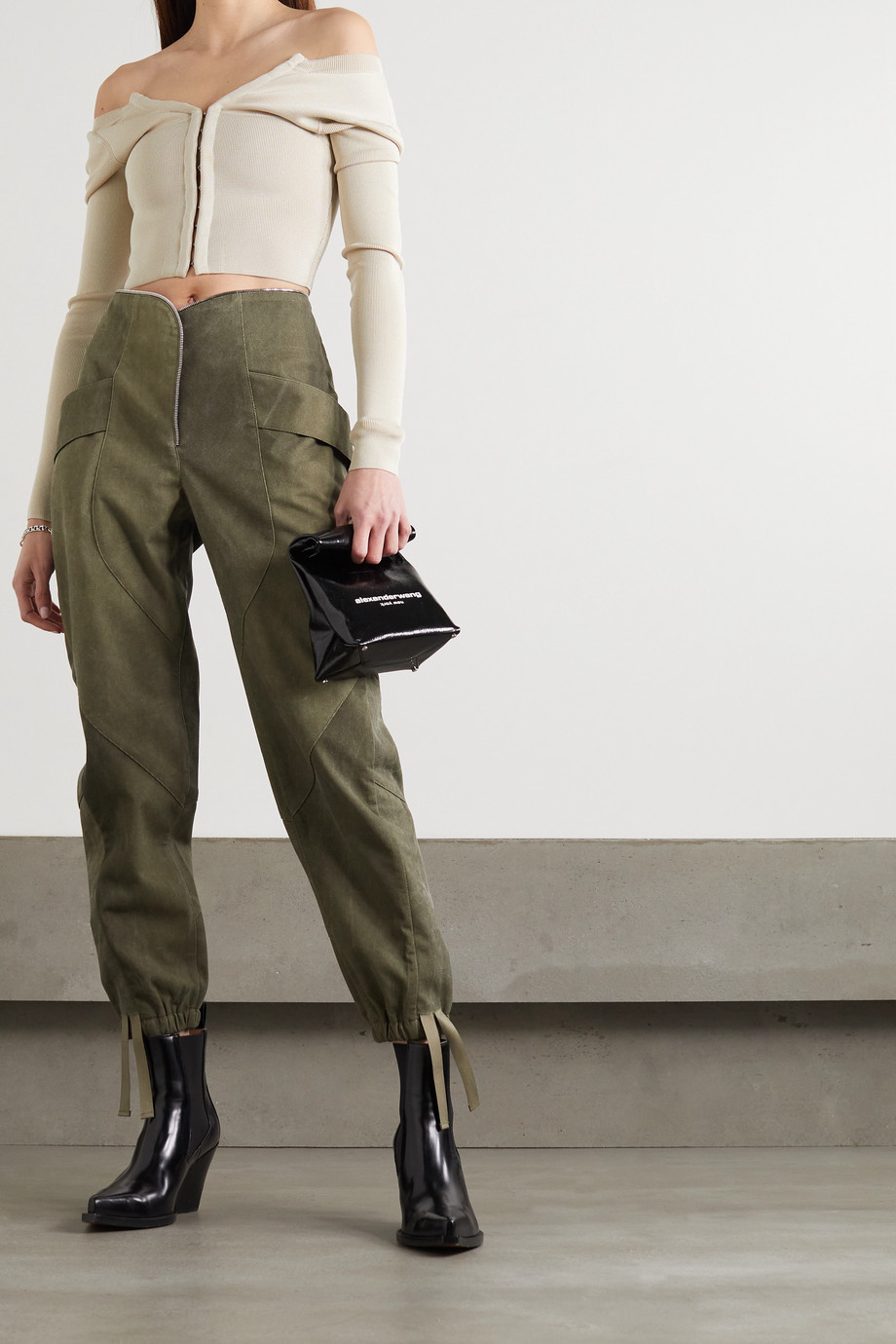 RTA Zelie paneled canvas tapered pants