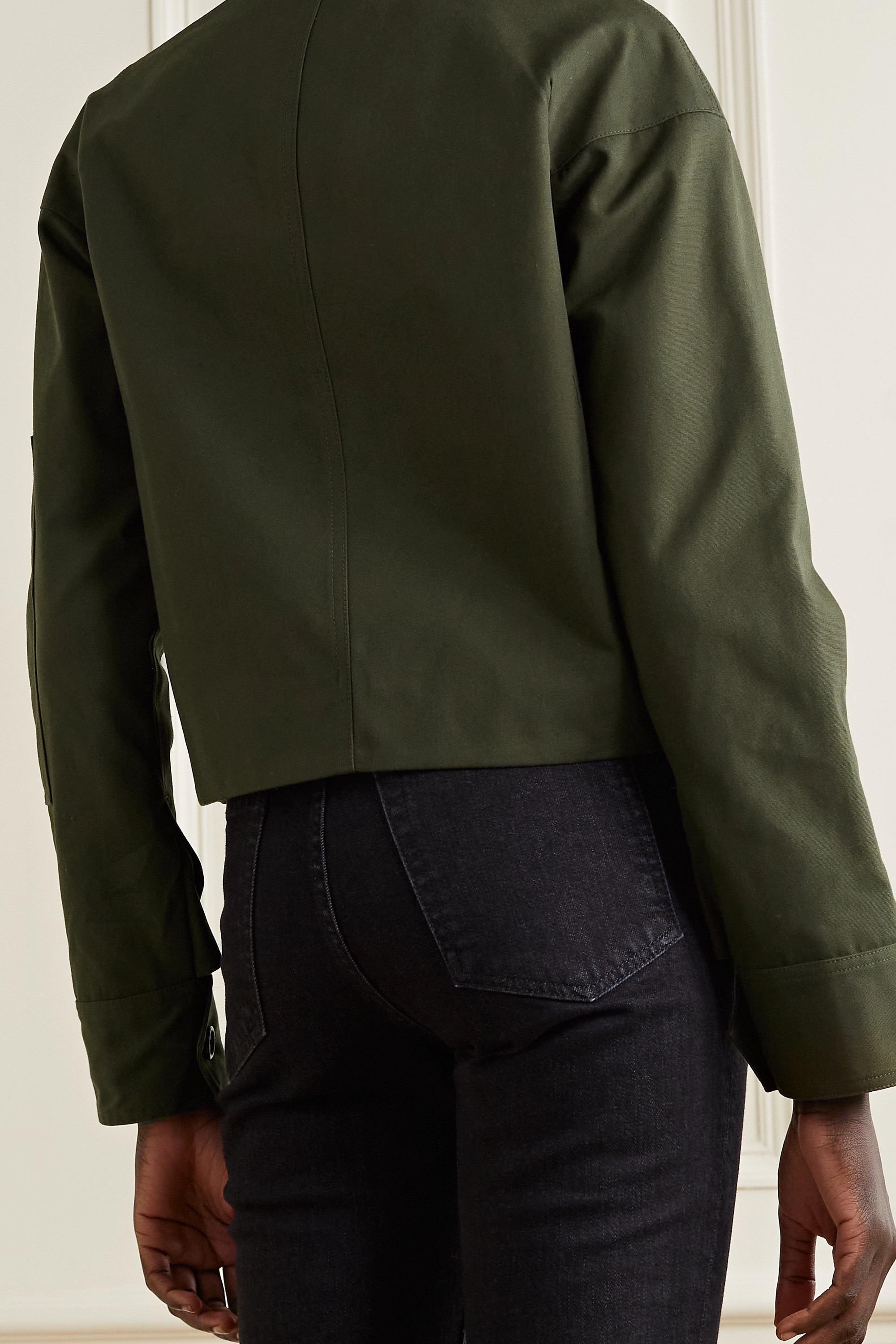 HELMUT LANG Cropped ribbed knit-trimmed canvas jacket