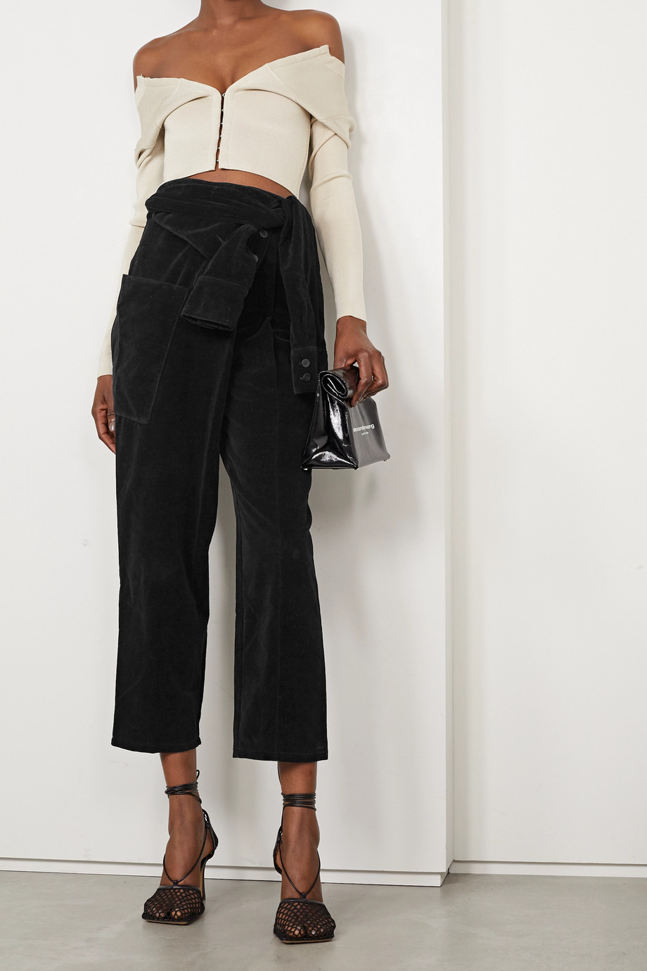 RTA Margot cropped cotton-velvet tapered pants