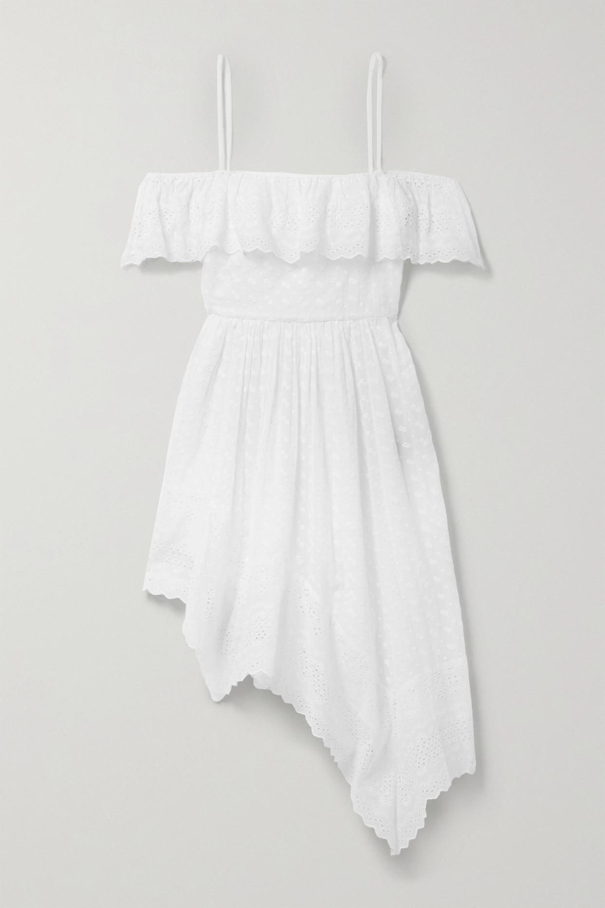 ISABEL MARANT ÉTOILE - Timoria Asymmetric Broderie Anglaise Cotton Dress - White - FR38