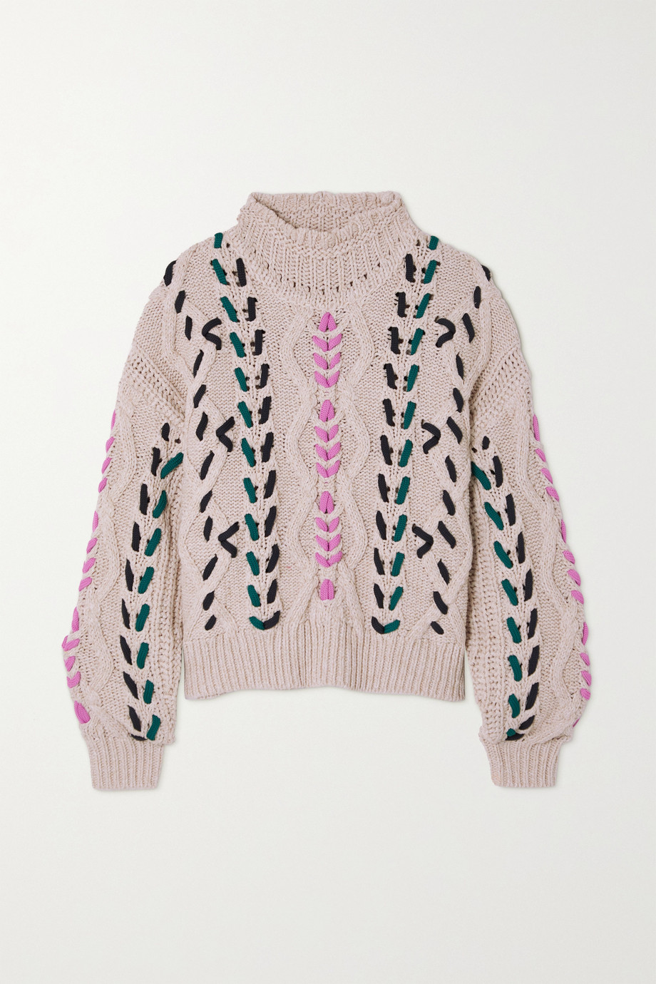 ISABEL MARANT ÉTOILE Zola embroidered cable-knit sweater