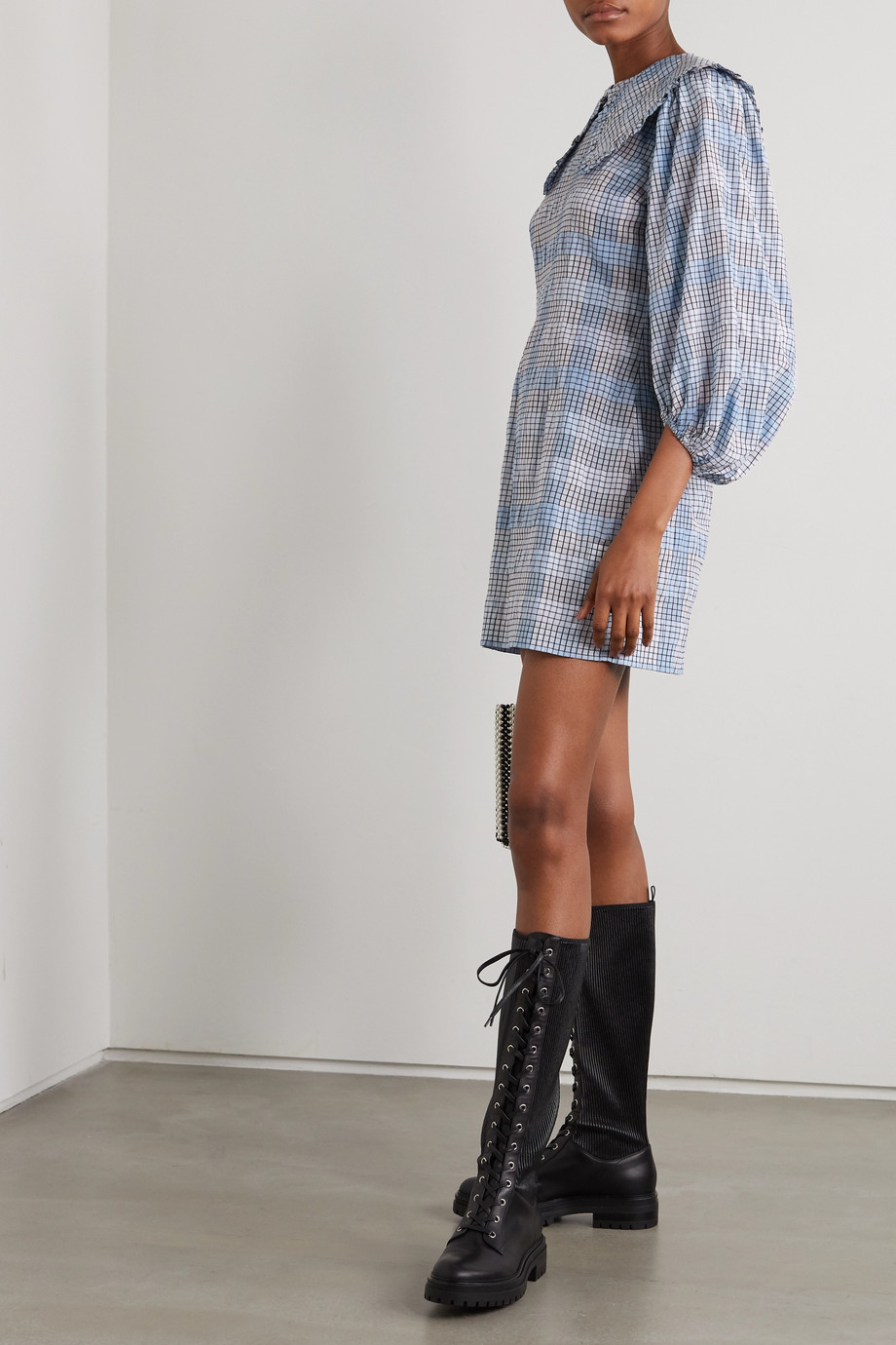 GANNI Checked seersucker mini dress