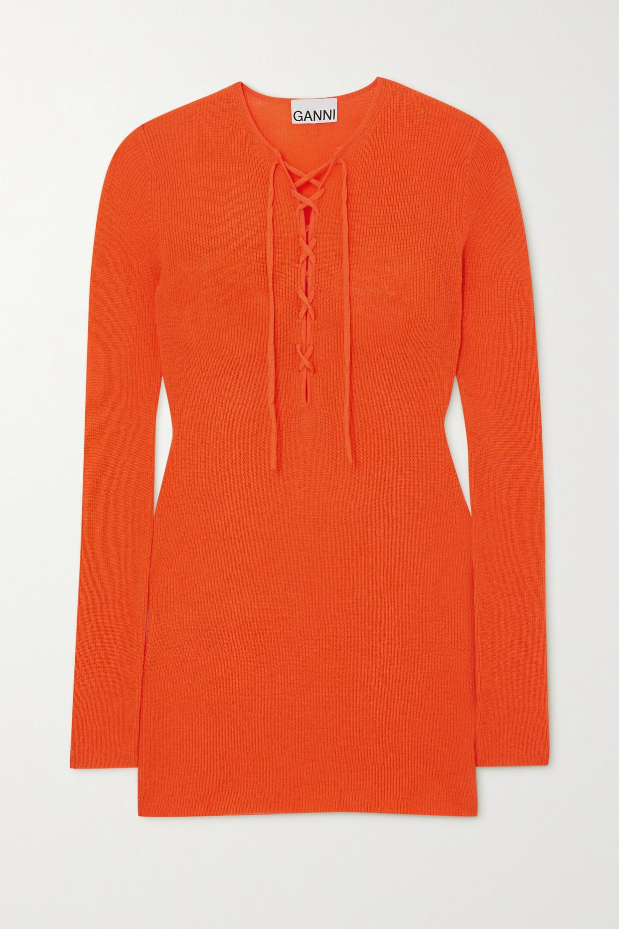 GANNI - 绑带式美利奴羊毛毛衣 - 橙色 - x small