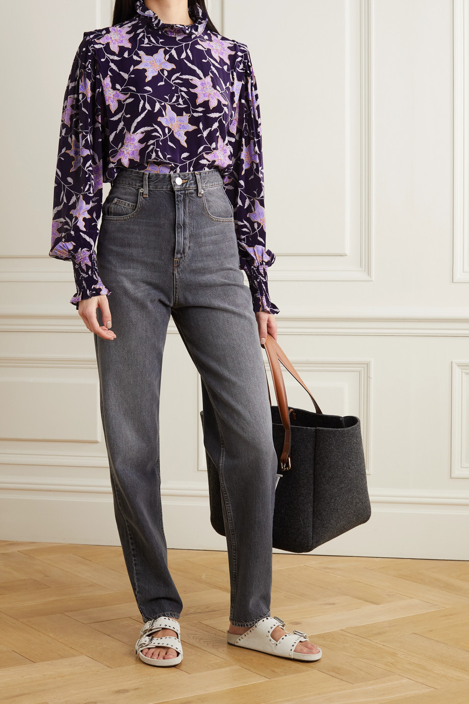 ISABEL MARANT ÉTOILE Yoshi shirred floral-print georgette blouse