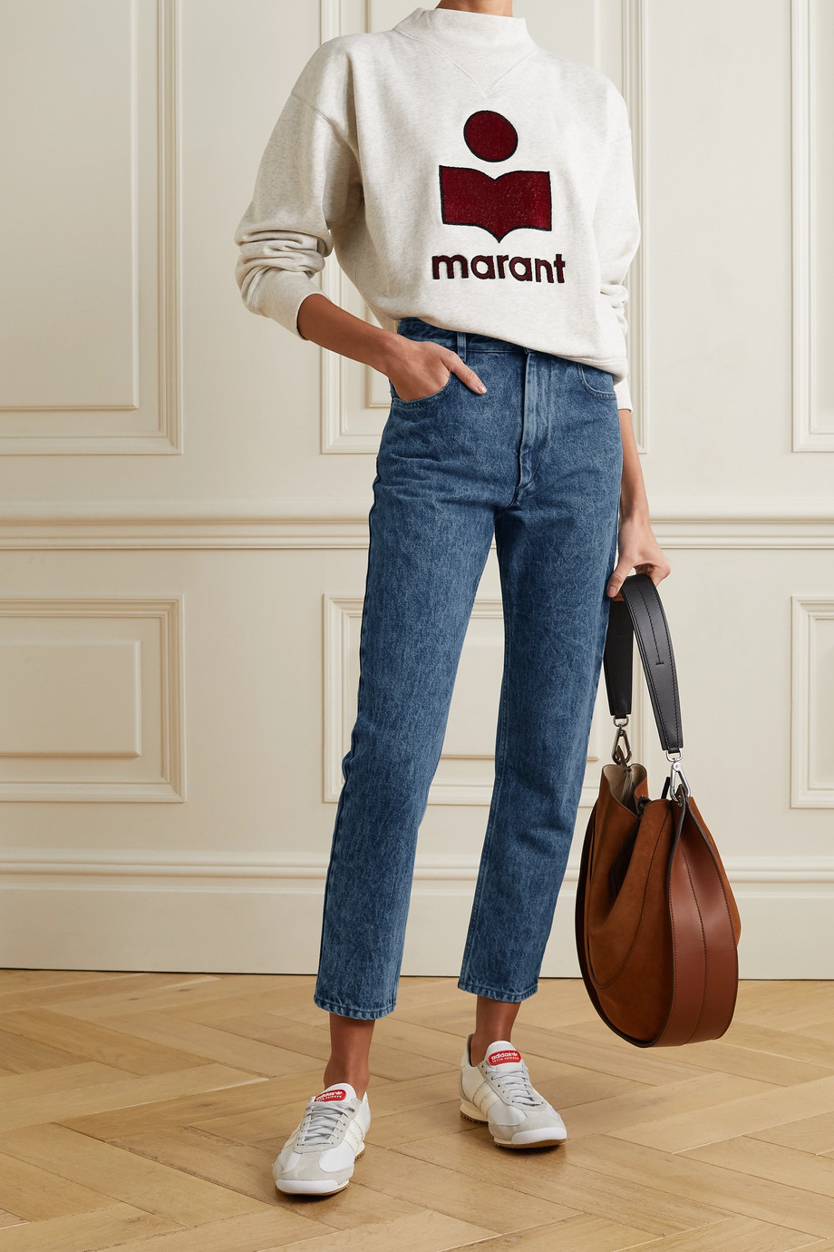ISABEL MARANT ÉTOILE Neasr acid-wash high-rise straight-leg jeans