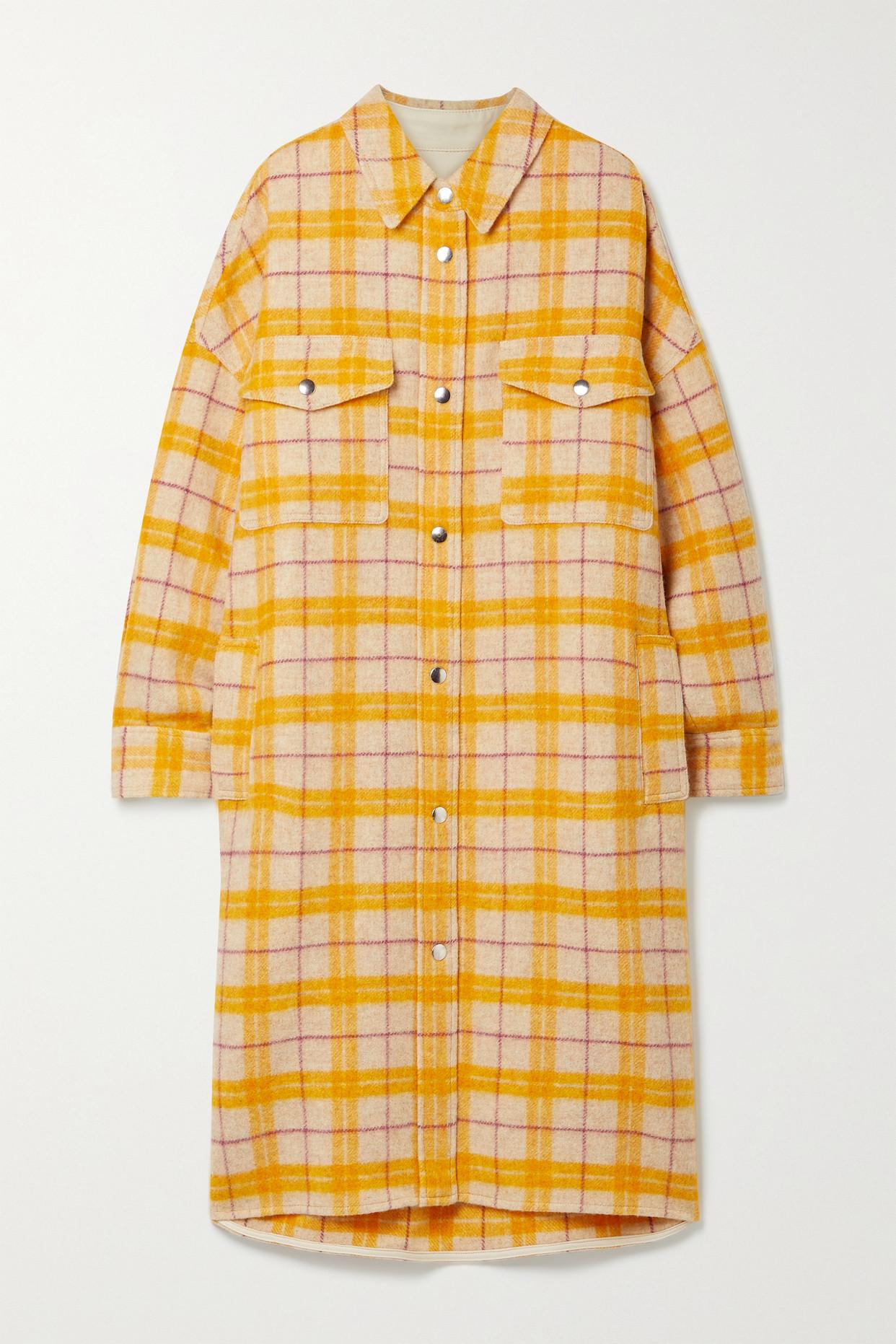 ISABEL MARANT ÉTOILE - Fontia 大廓形格纹羊毛混纺法兰绒外套 - 米色 - FR38