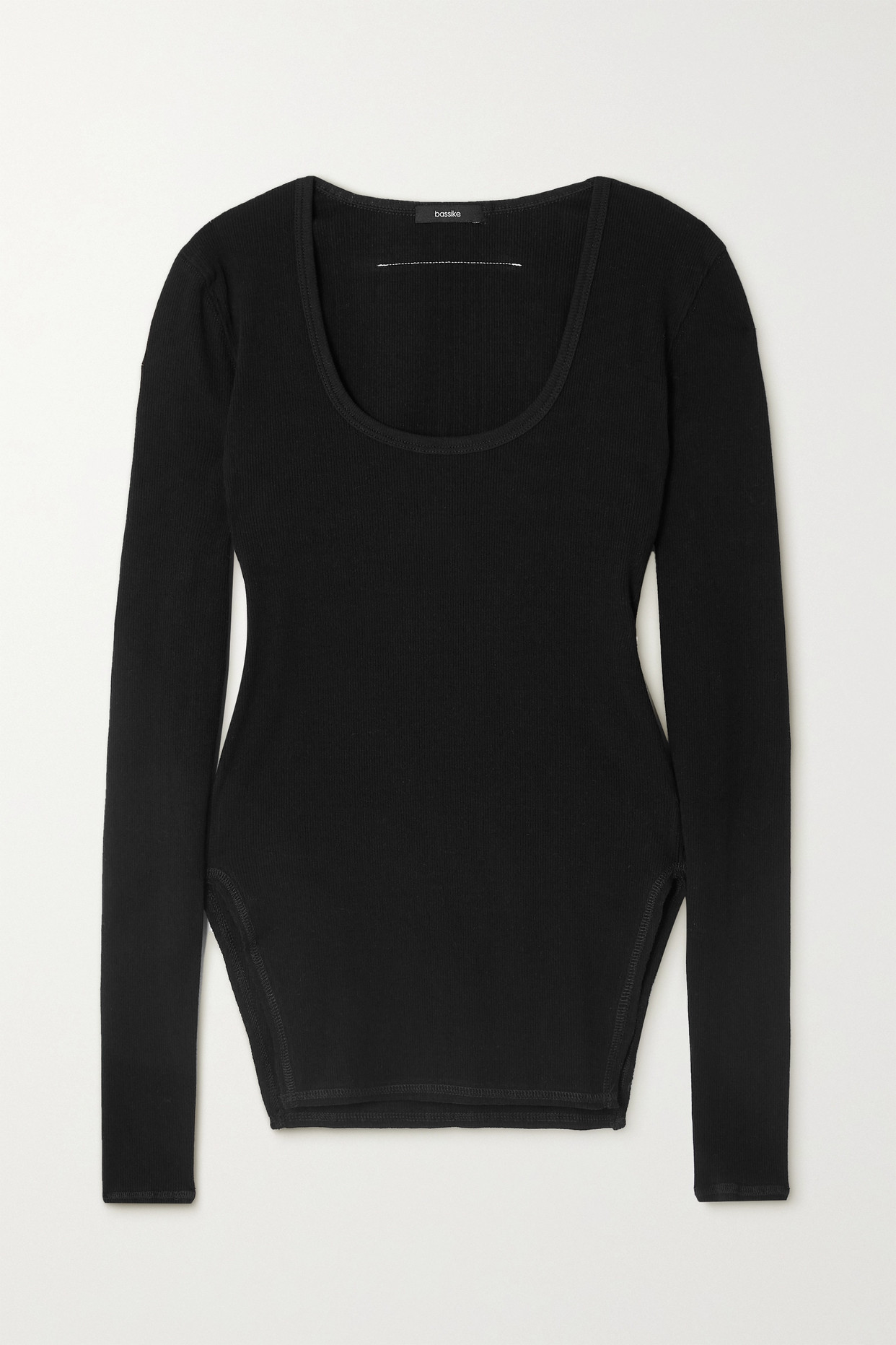 BASSIKE - + Net Sustain Ribbed Stretch-cotton Top - Black - 2