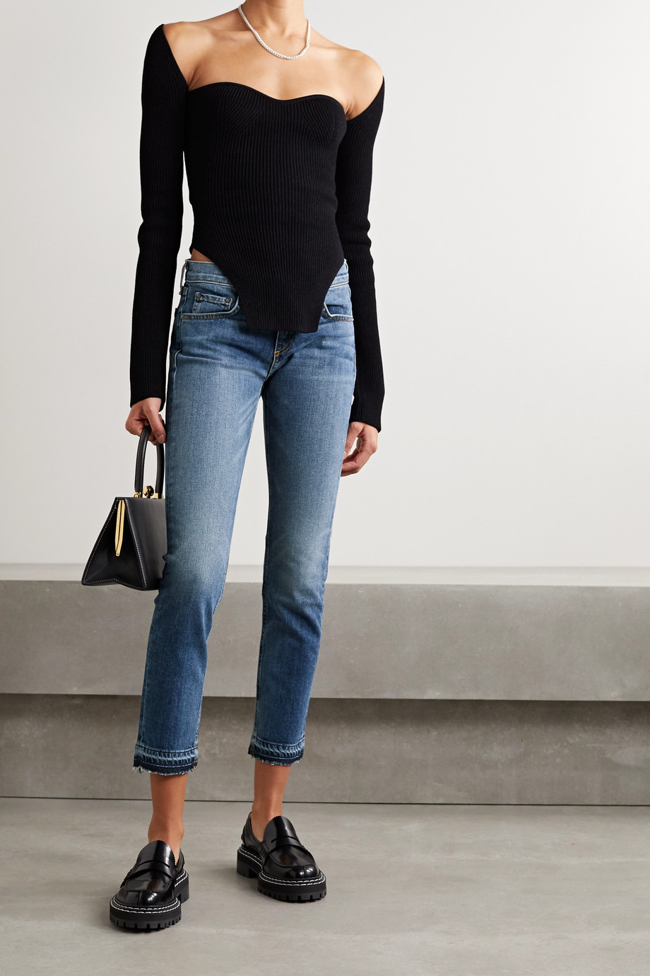 rag & bone Dre Capri cropped distressed mid-rise slim-leg jeans