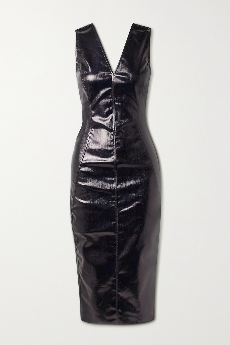 RICK OWENS Coated cotton-blend midi dress
