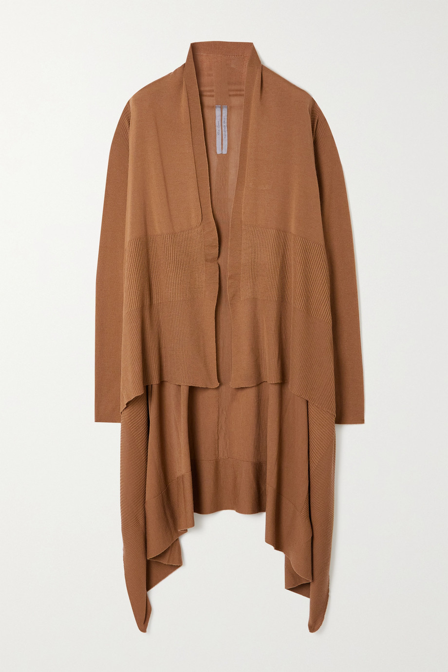 RICK OWENS Draped ribbed wool cardigan