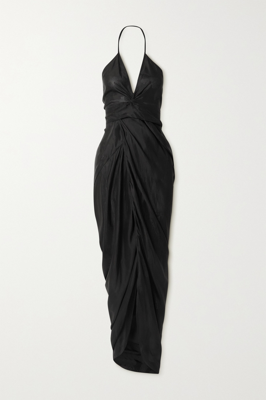 RICK OWENS Laura cupro halterneck maxi wrap dress