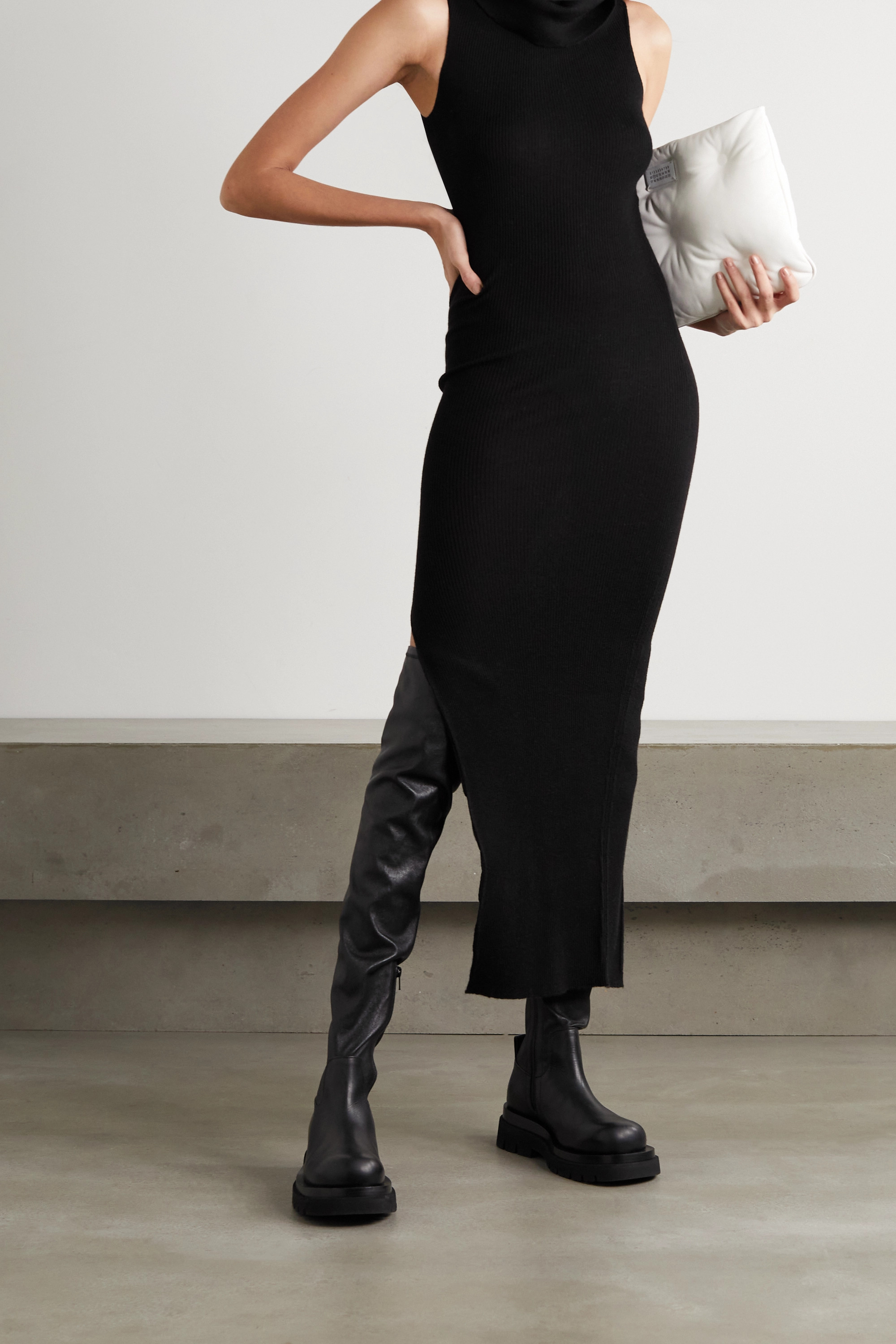 RICK OWENS Draped ribbed wool midi dress