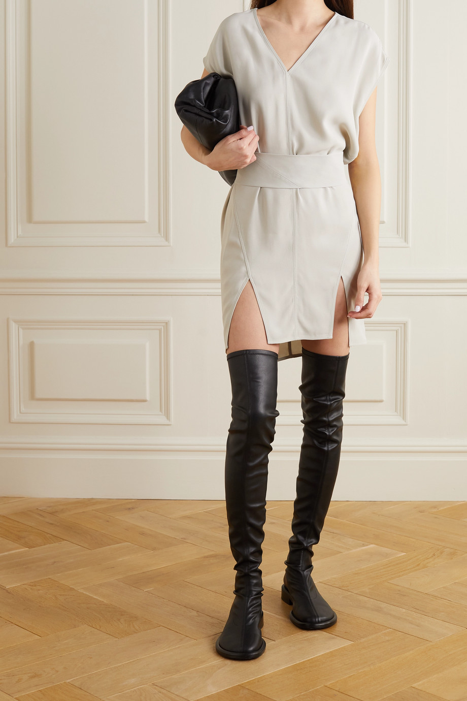 RICK OWENS Abito belted crepe mini dress