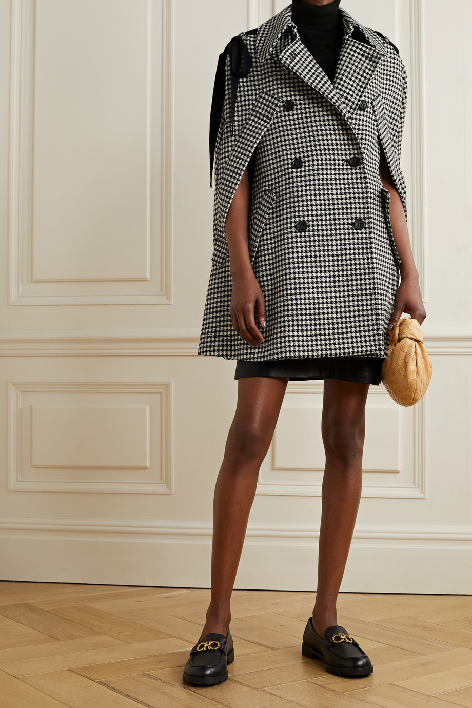 REDVALENTINO Bow-embellished houndstooth tweed cape