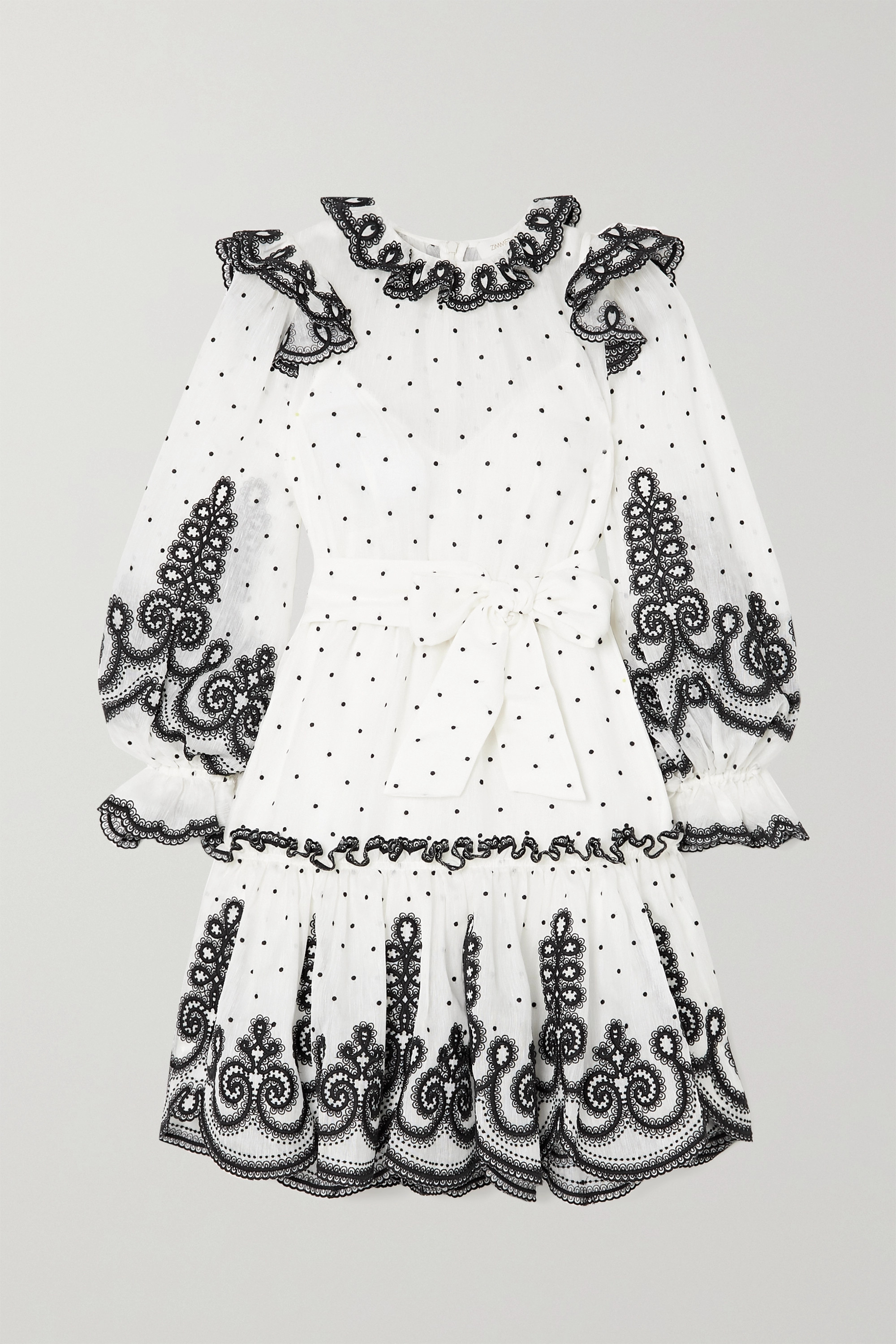 ZIMMERMANN The Lovestruck Rope embroidered linen and silk-blend organza mini dress