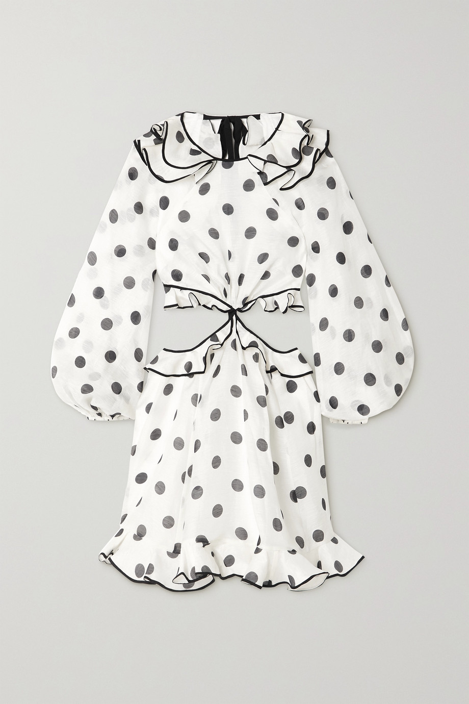 ZIMMERMANN The Lovestruck polka-dot linen and silk-blend organza mini dress