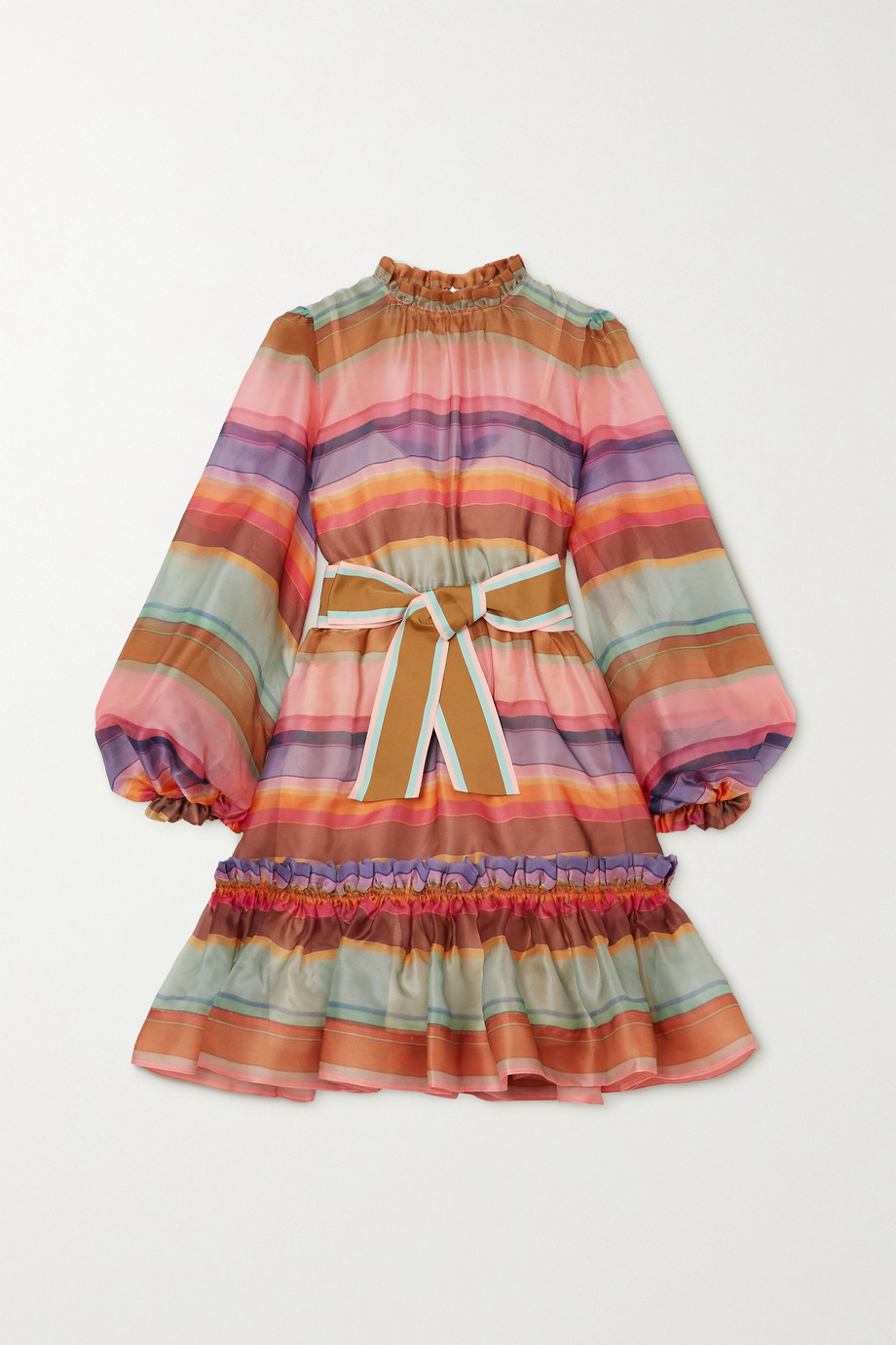 ZIMMERMANN The Lovestruck belted striped silk-organza mini dress