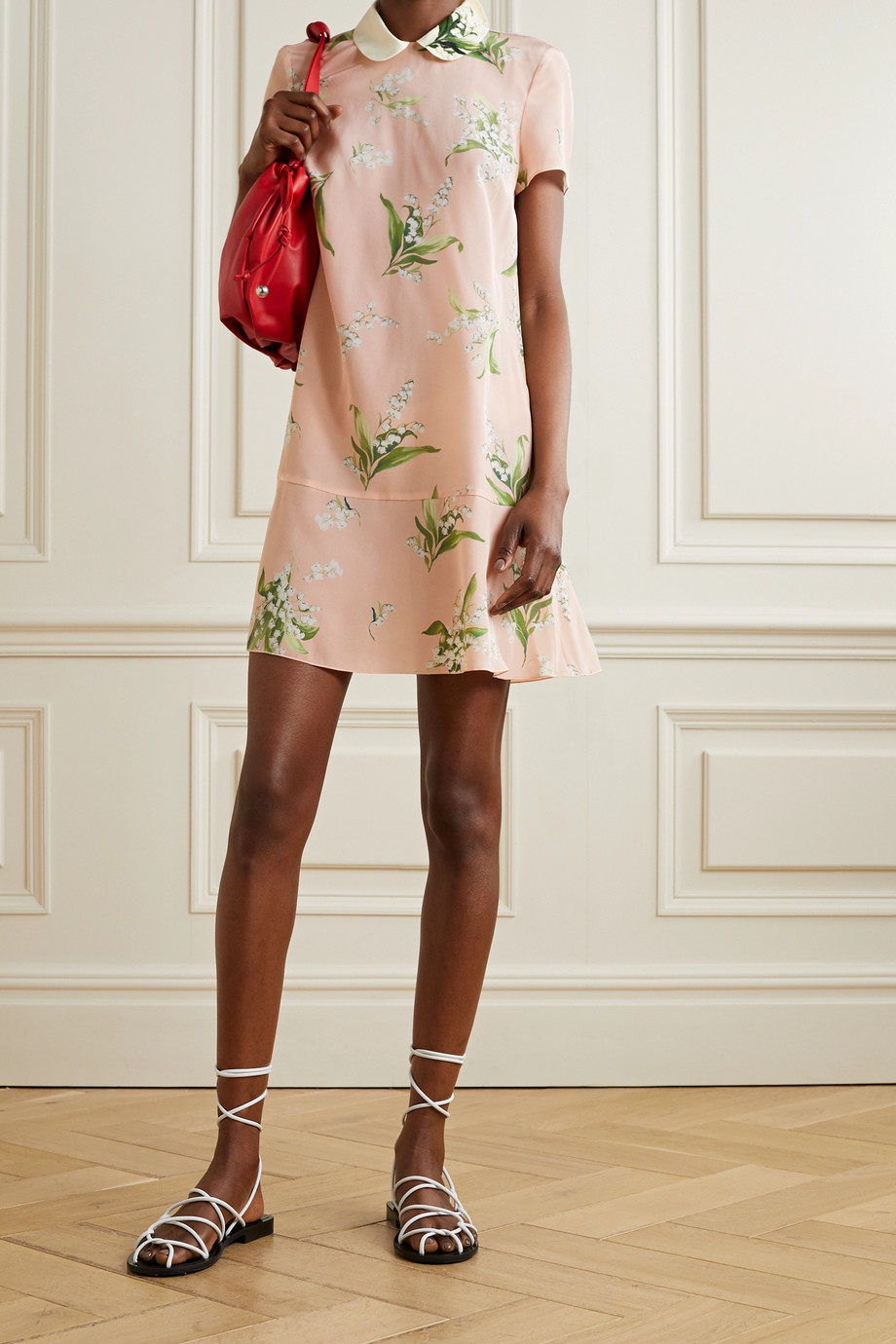 REDVALENTINO Embroidered floral-print silk crepe de chine mini dress