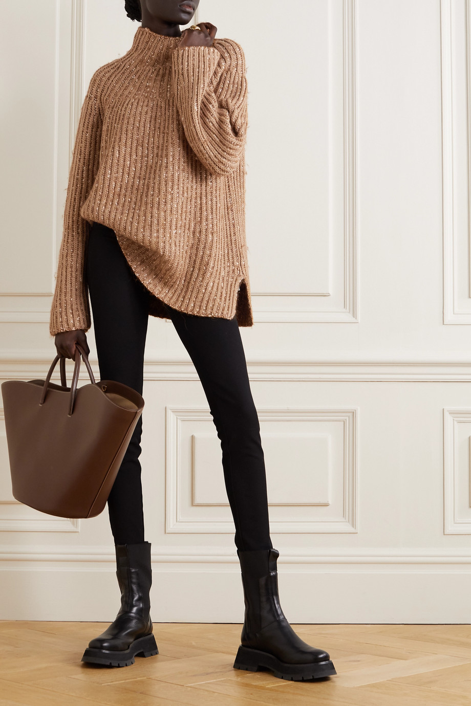 BY MALENE BIRGER Atuna ribbed mélange wool-blend turtleneck sweater