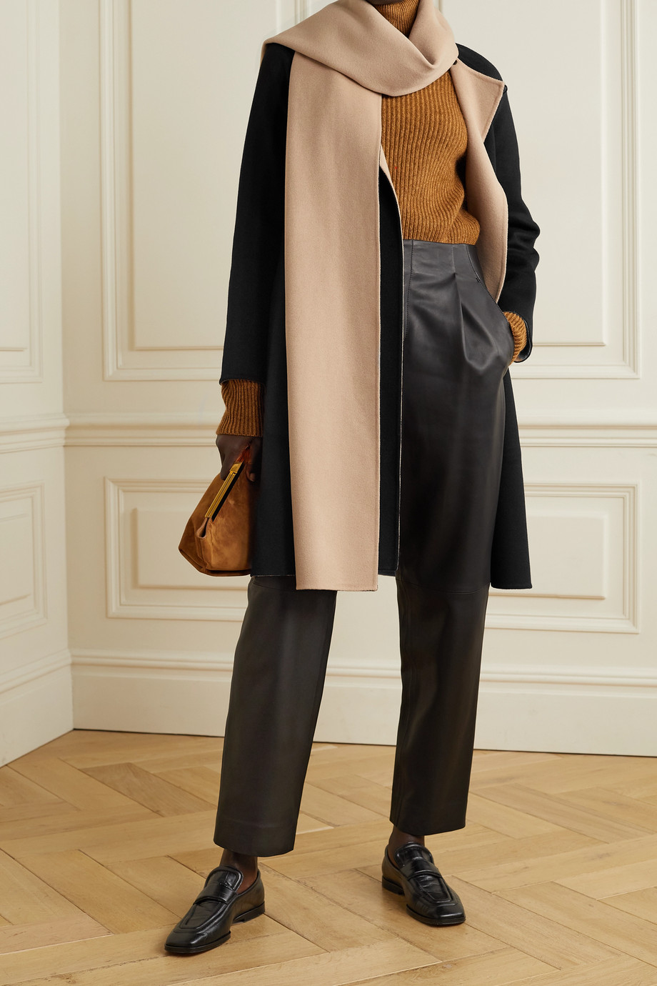 THEORY Convertible draped two-tone wool and cashmere-blend coat