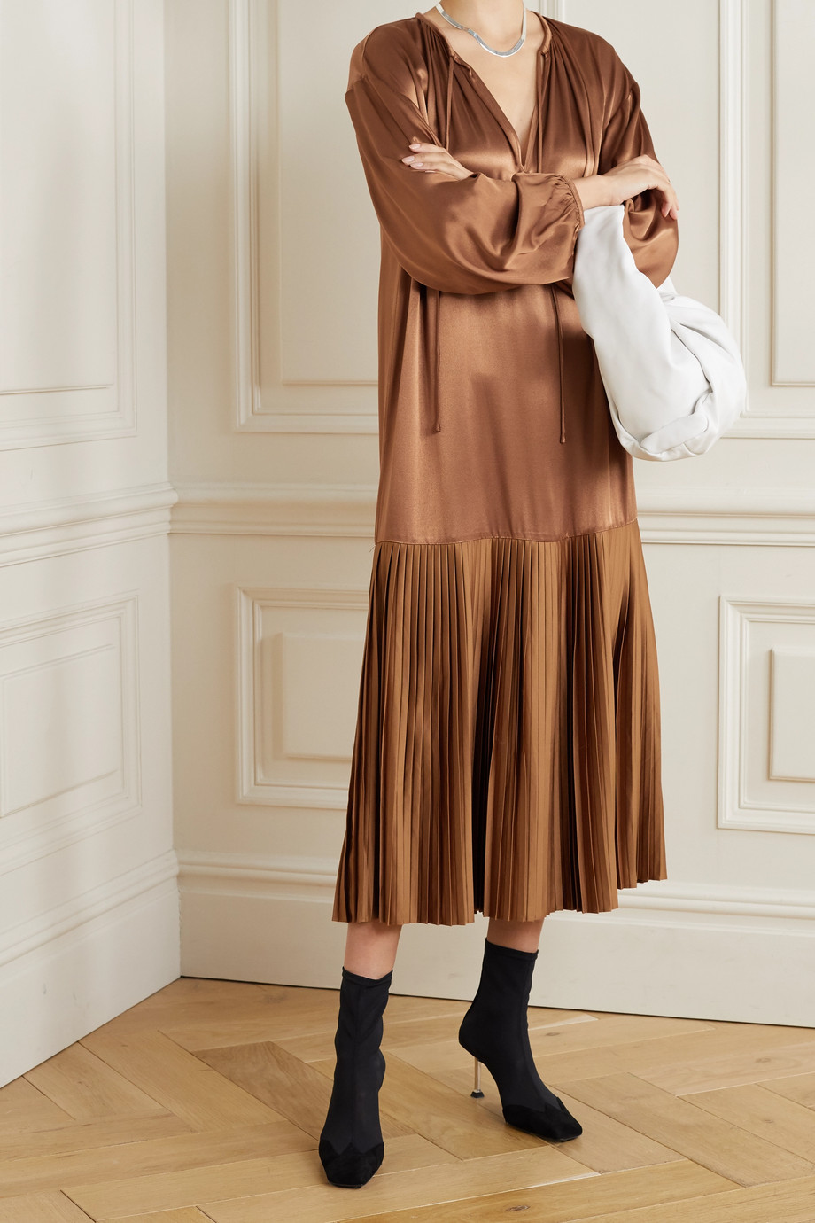 BY MALENE BIRGER Lemona pleated satin midi dress