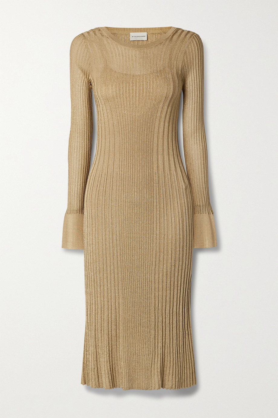 BY MALENE BIRGER Ophelias metallic ribbed-knit midi dress