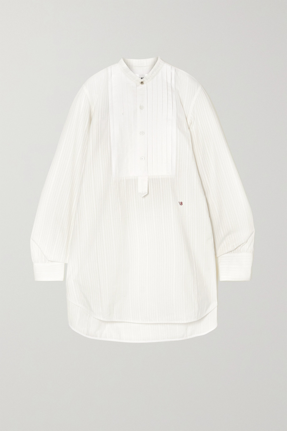 VICTORIA BECKHAM Pintucked paneled embroidered cotton-poplin shirt
