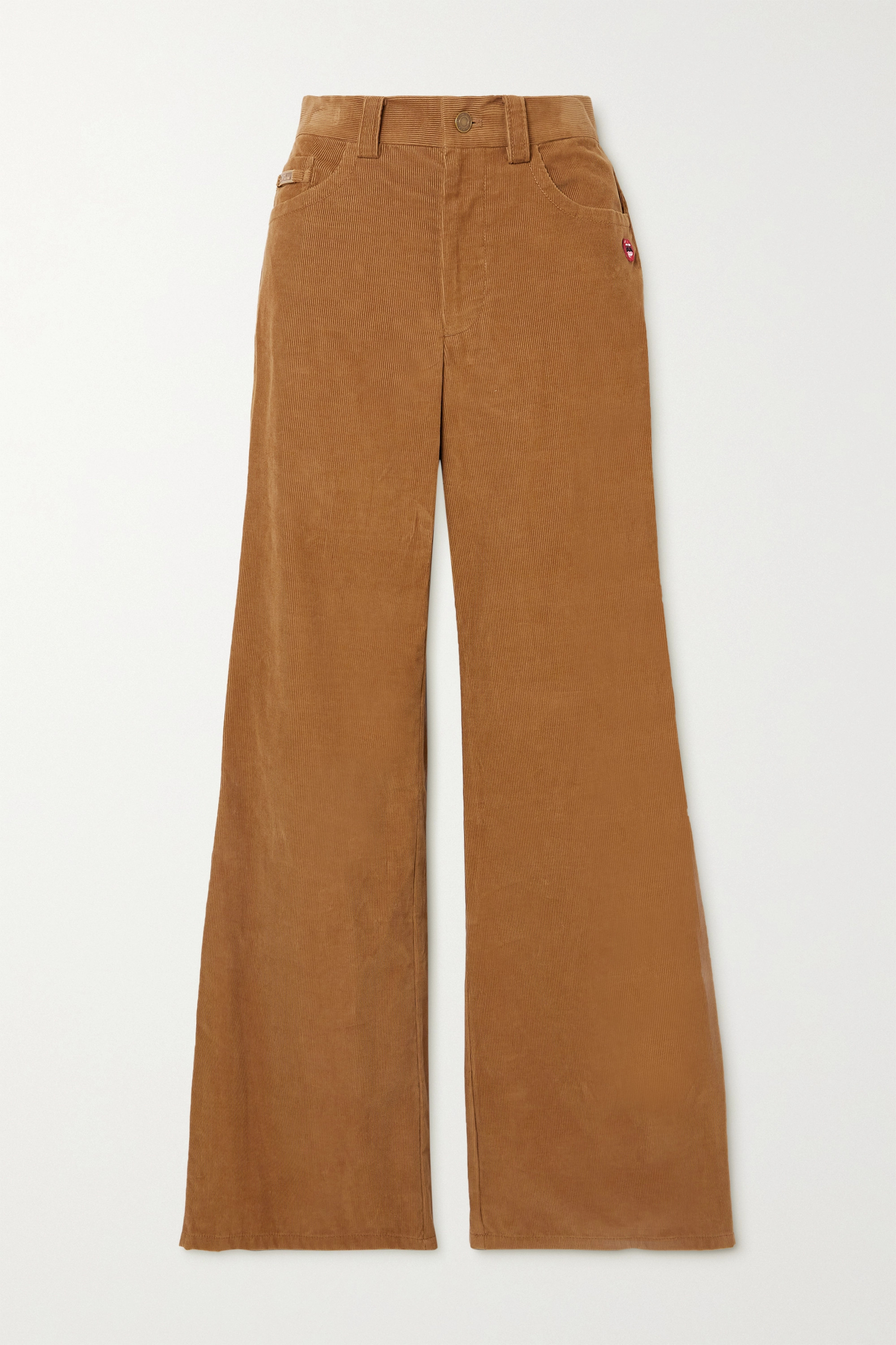 THE MARC JACOBS The Flared Jean appliquéd cotton-corduroy pants