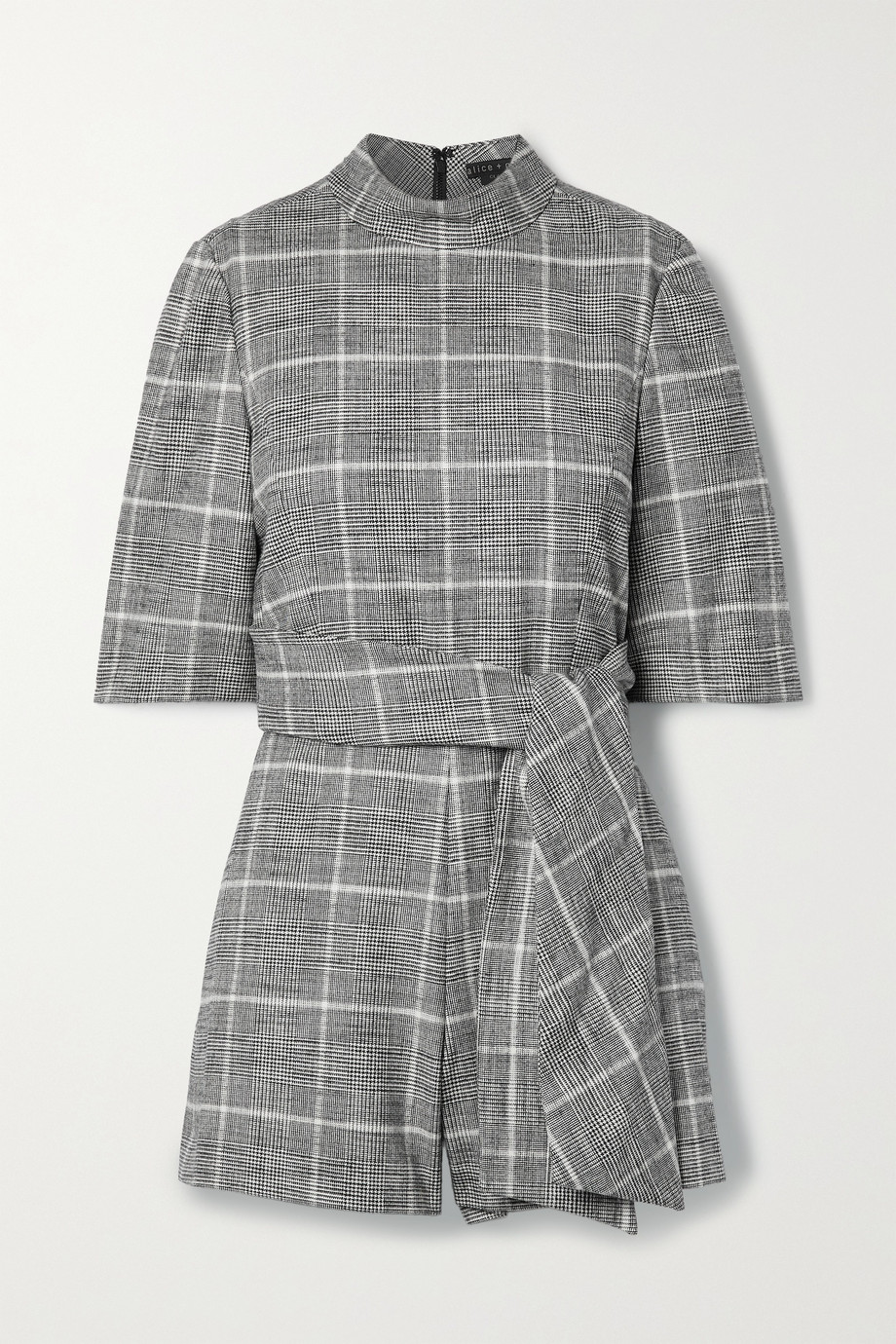 ALICE + OLIVIA Belted houndstooth woven playsuit