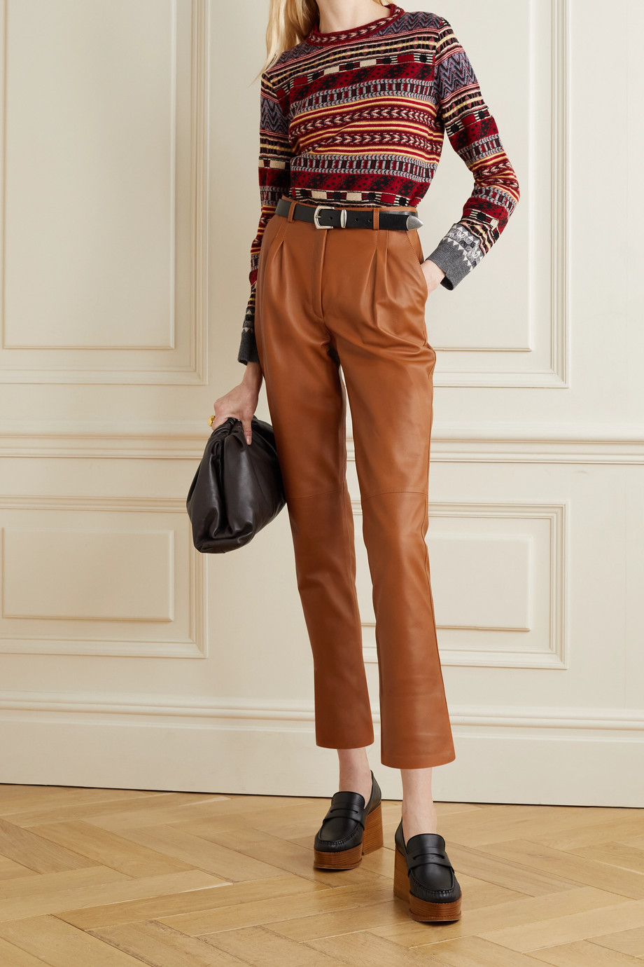 ETRO Pleated leather tapered pants