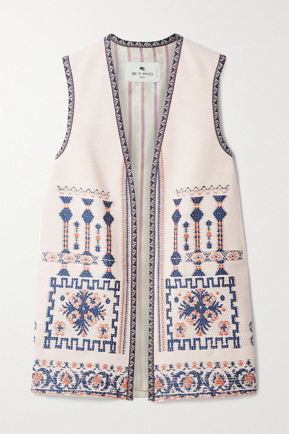 ETRO Jacquard-trimmed embroidered wool-blend vest