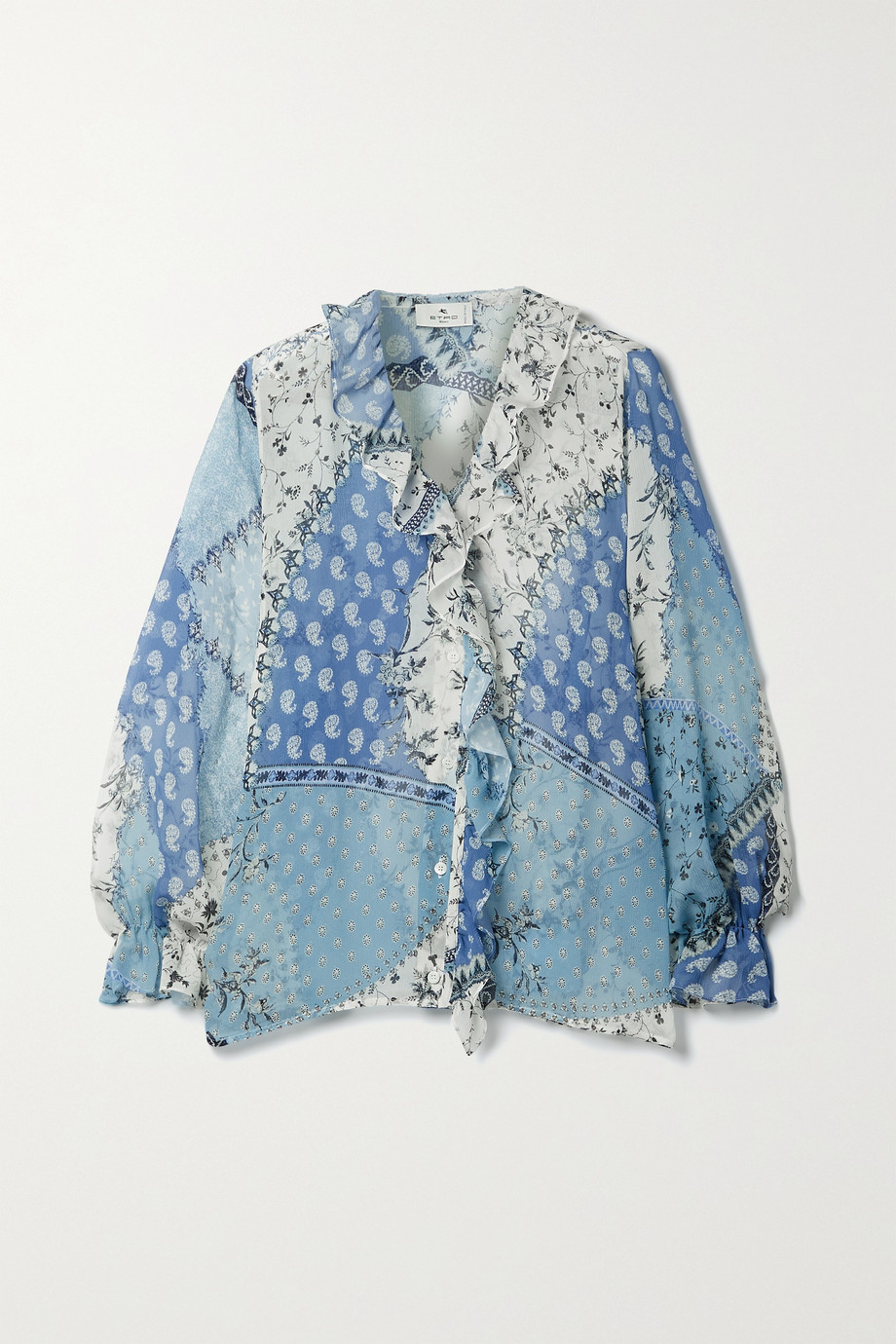 ETRO Ruffled patchwork printed silk-crepon blouse