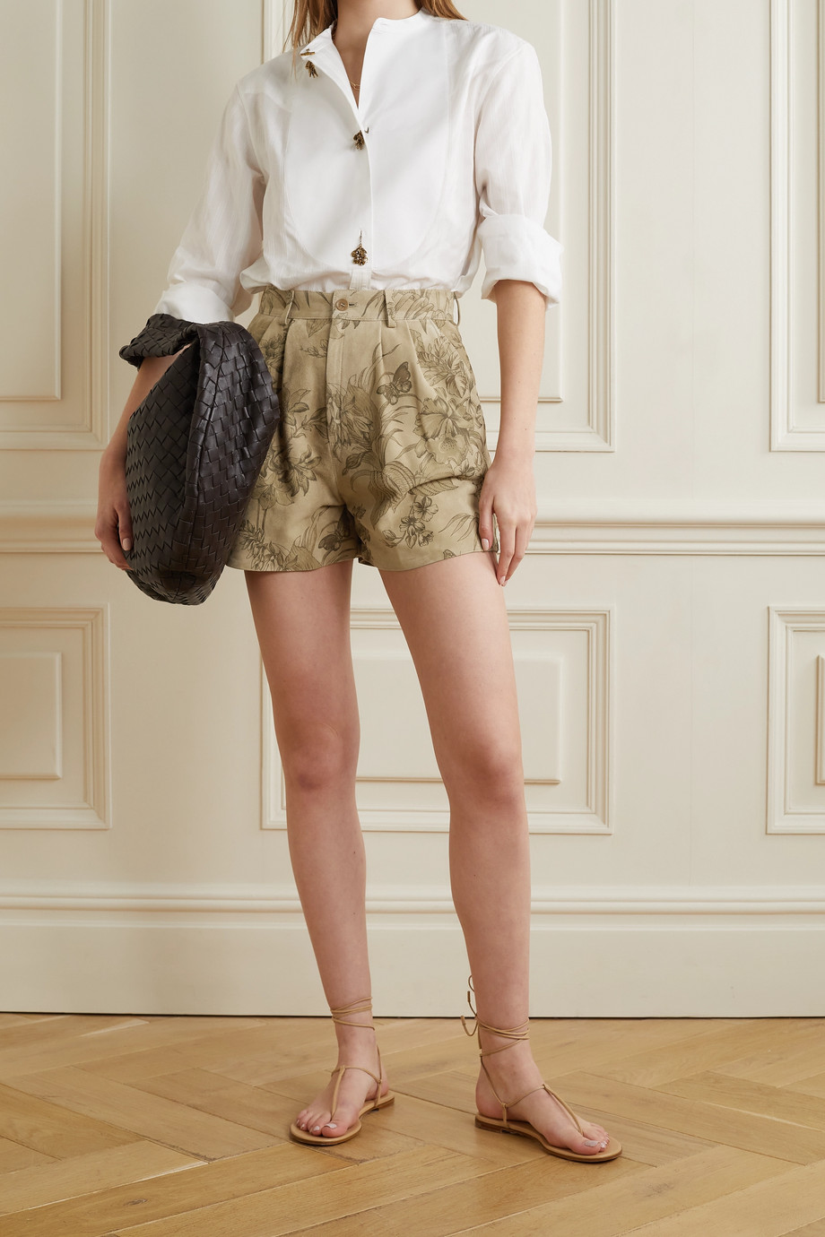 ETRO Pleated floral-print suede shorts