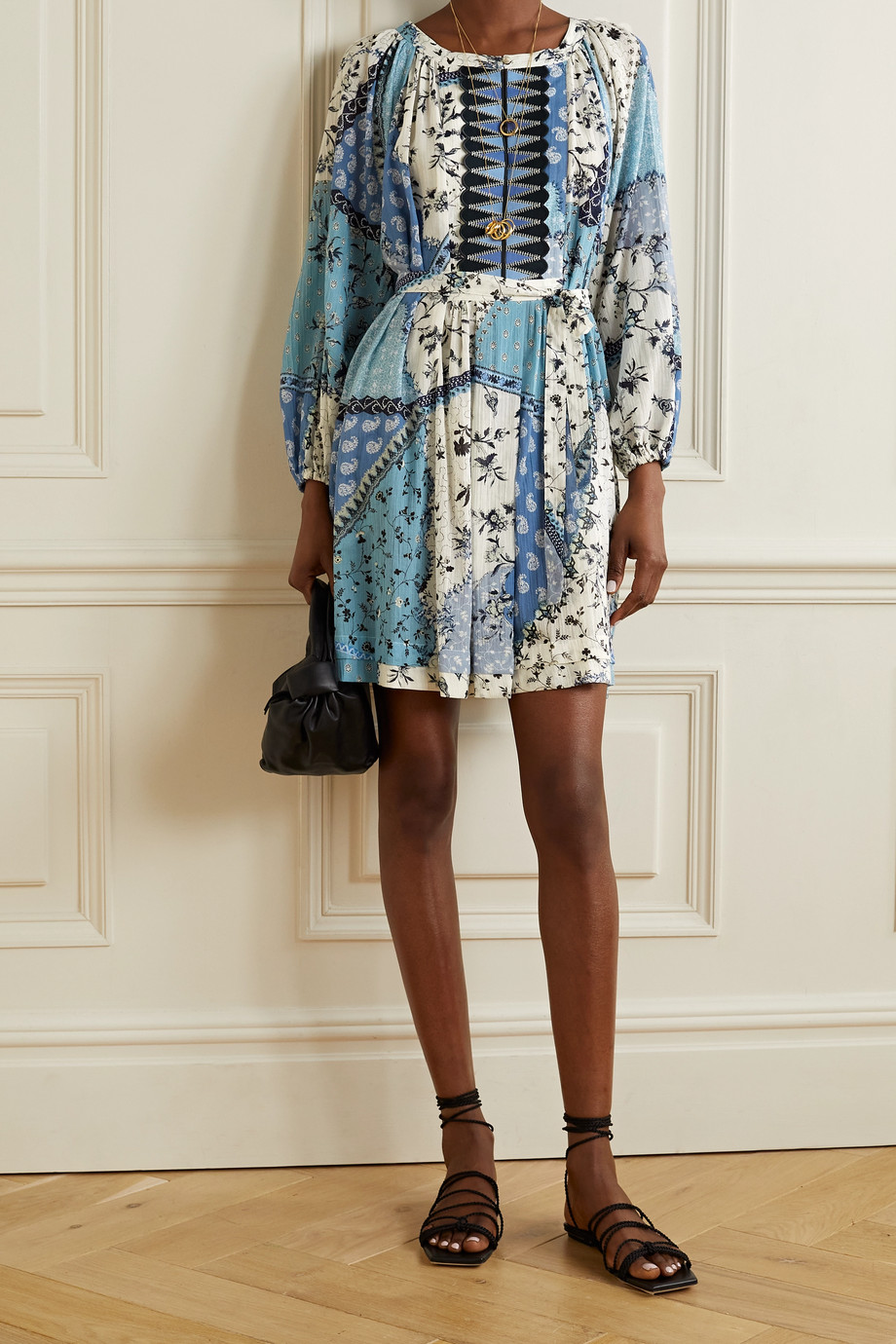 ETRO Belted printed cotton-crepon mini dress
