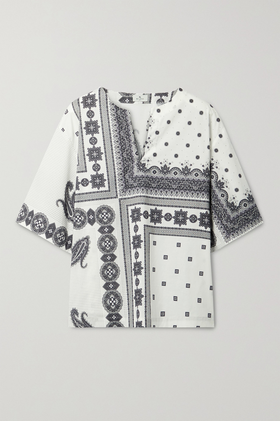 ETRO Printed cotton-blend poplin top