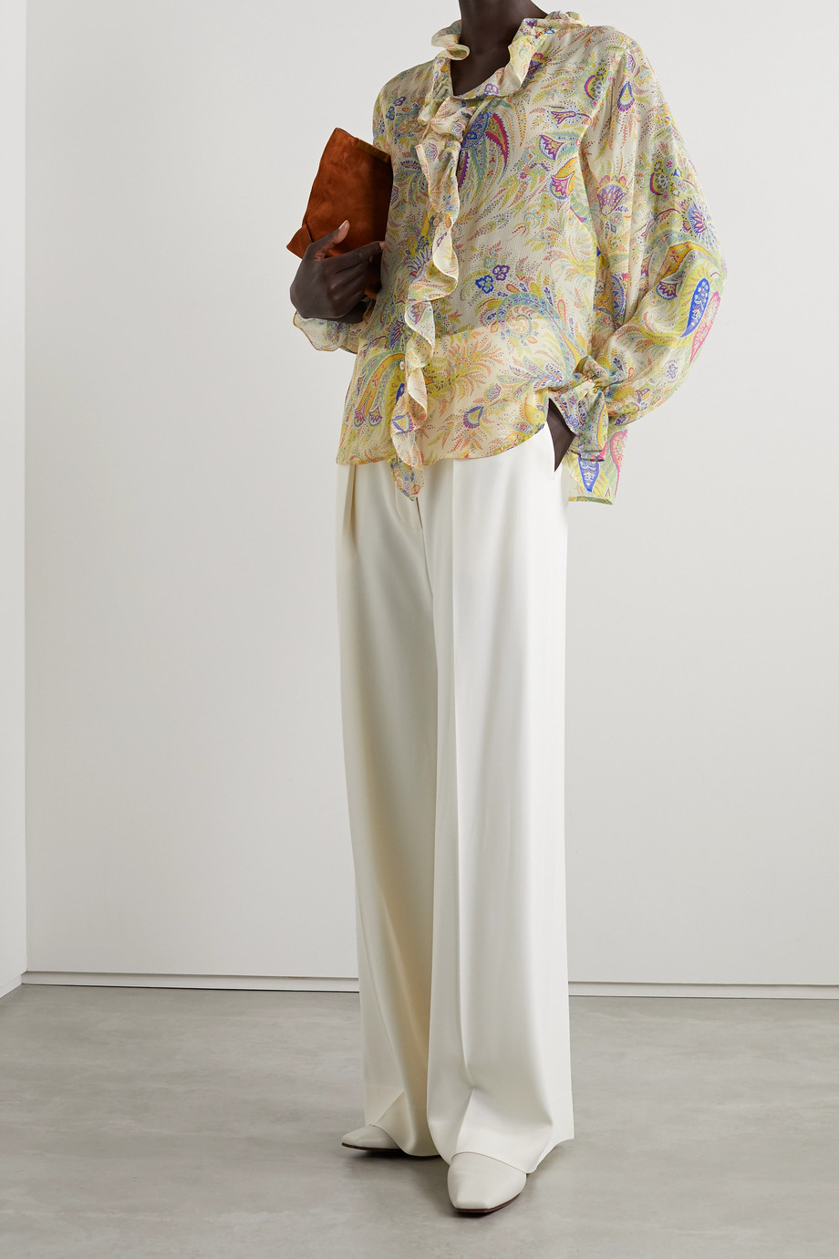 ETRO Ruffled printed silk-crepon blouse