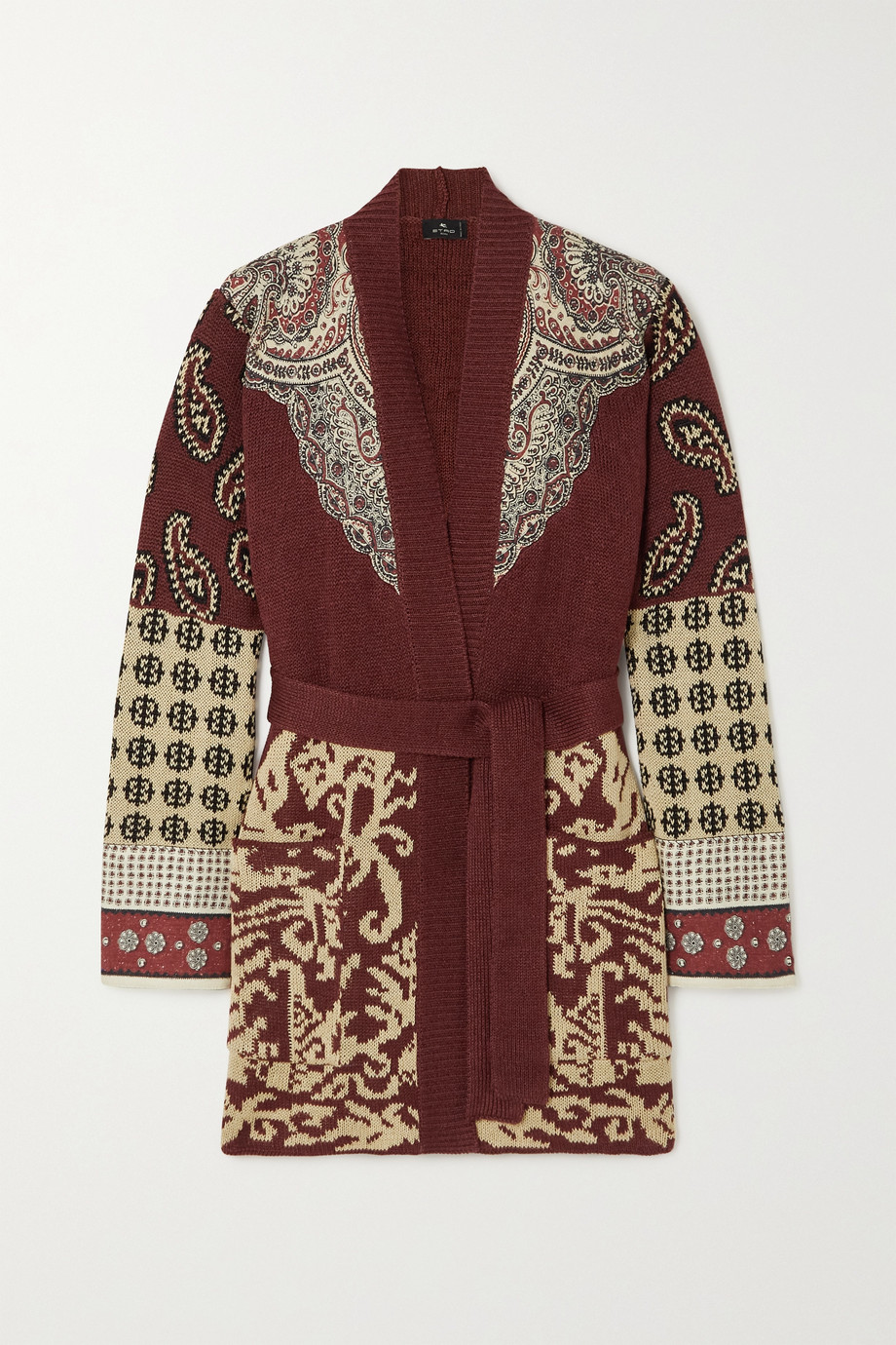 ETRO Belted jacquard-knit linen and silk-blend cardigan
