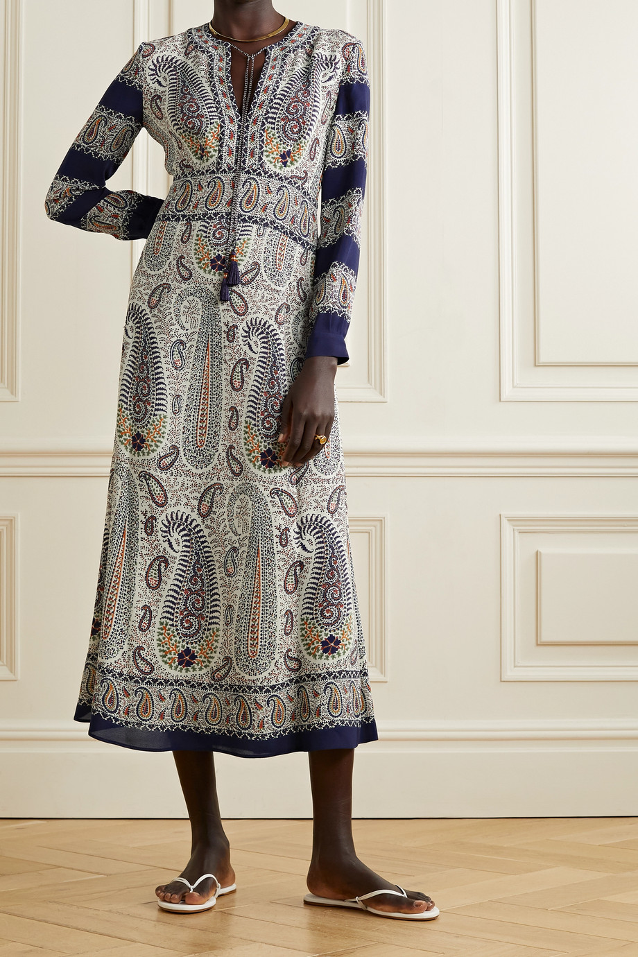 ETRO Tasseled paisley-print crepe de chine midi dress