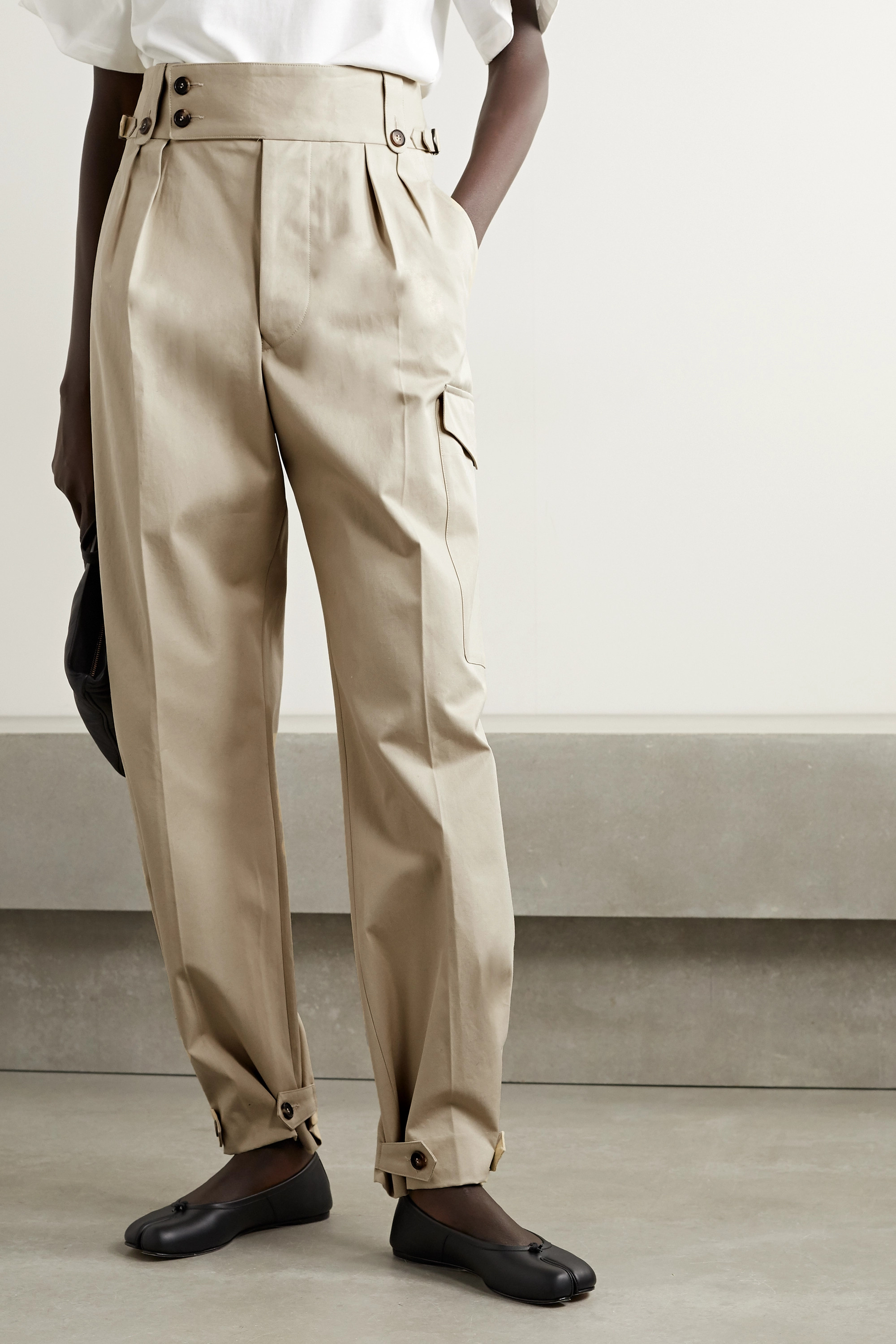 MAISON MARGIELA Button-detailed pleated cotton-gabardine wide-leg pants