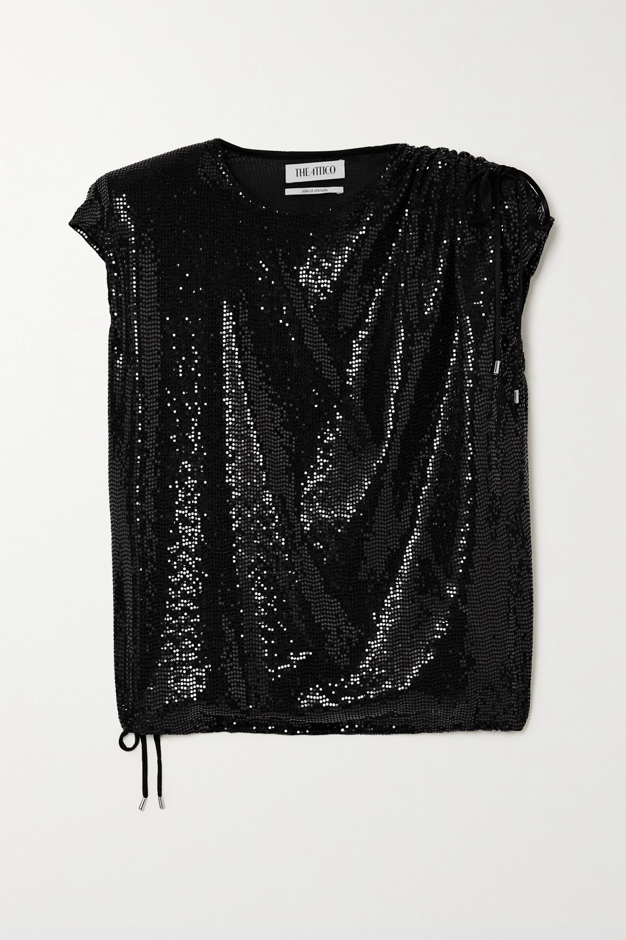THE ATTICO Draped sequined jersey top