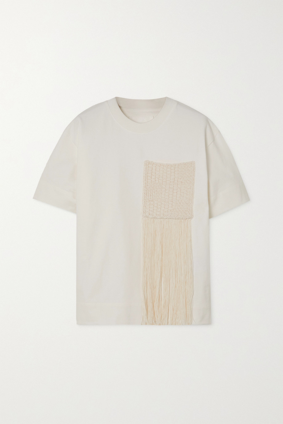 JIL SANDER Fringed crochet-paneled cotton-jersey T-shirt