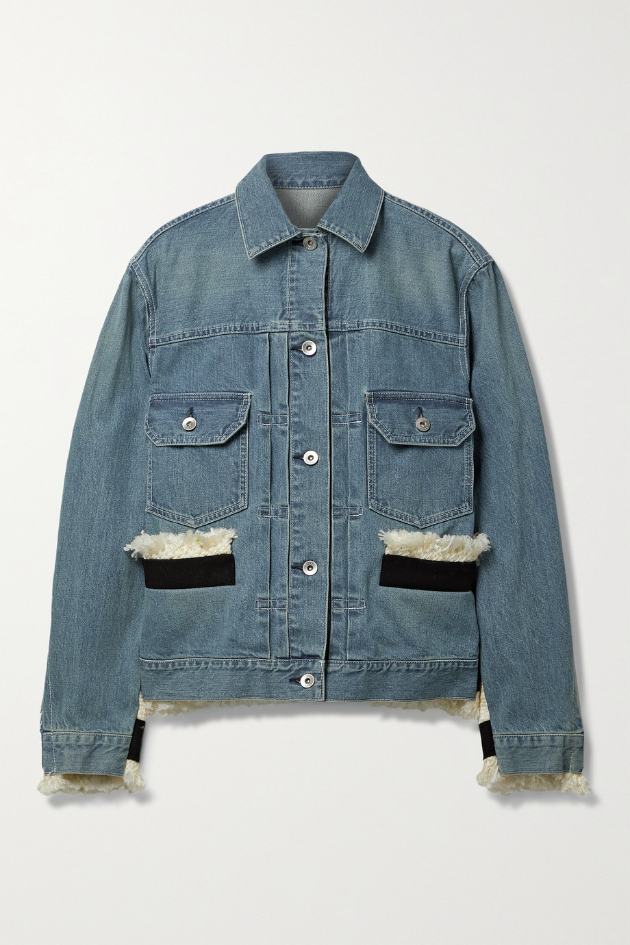 SACAI Fringed canvas-trimmed tweed and denim jacket