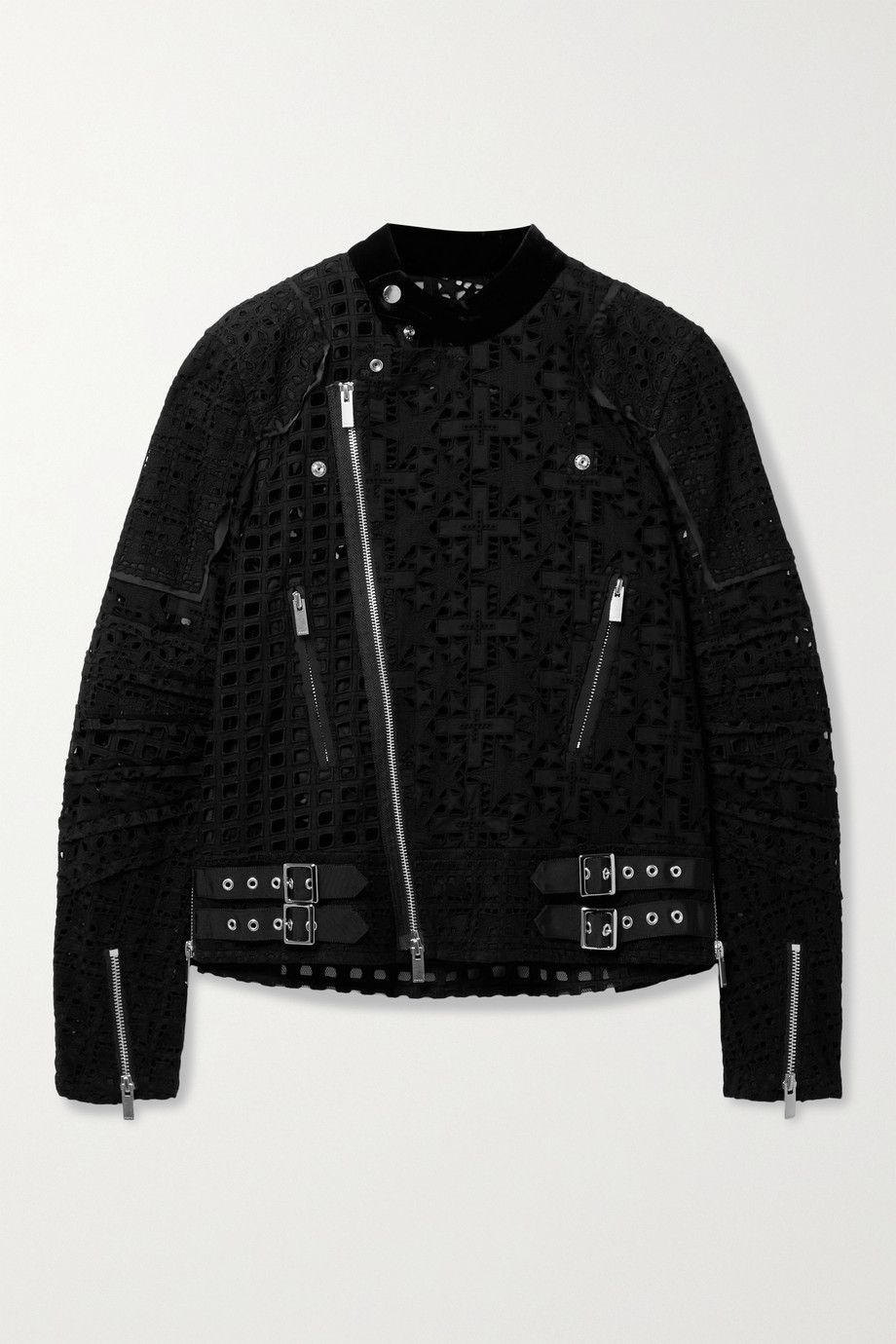 SACAI Velvet and crepe de chine-trimmed broderie anglaise cotton jacket