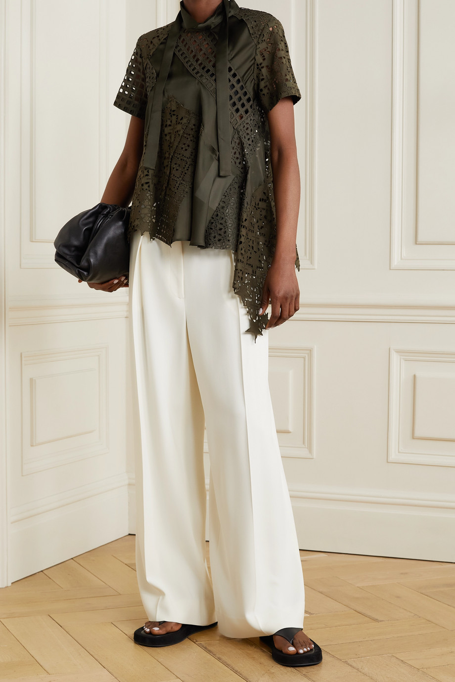 SACAI Asymmetric tie-detailed broderie anglaise cotton and chiffon top